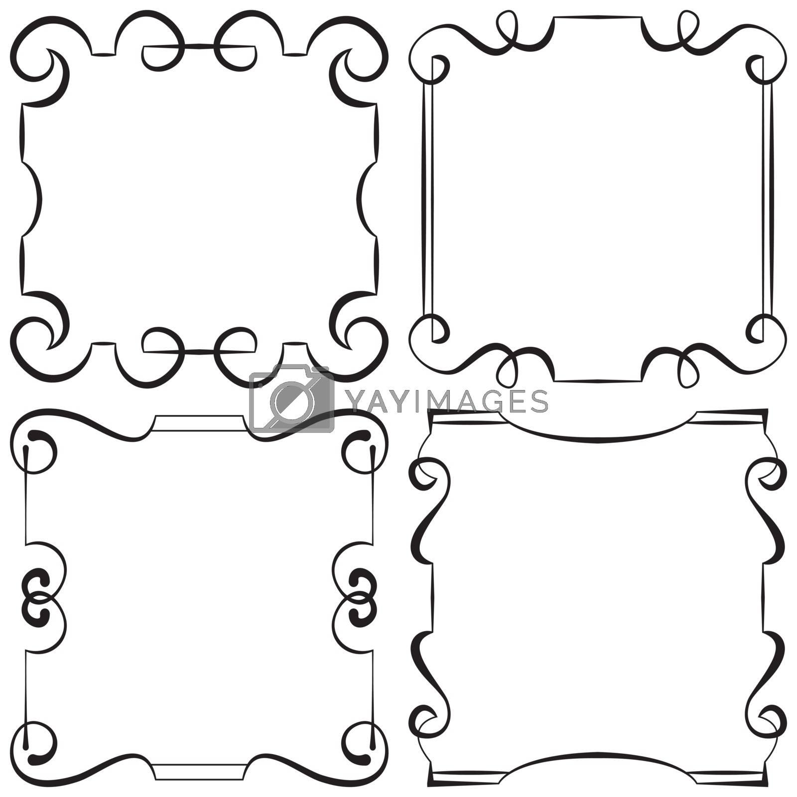 vector illustration. set of decorative retro frameworks