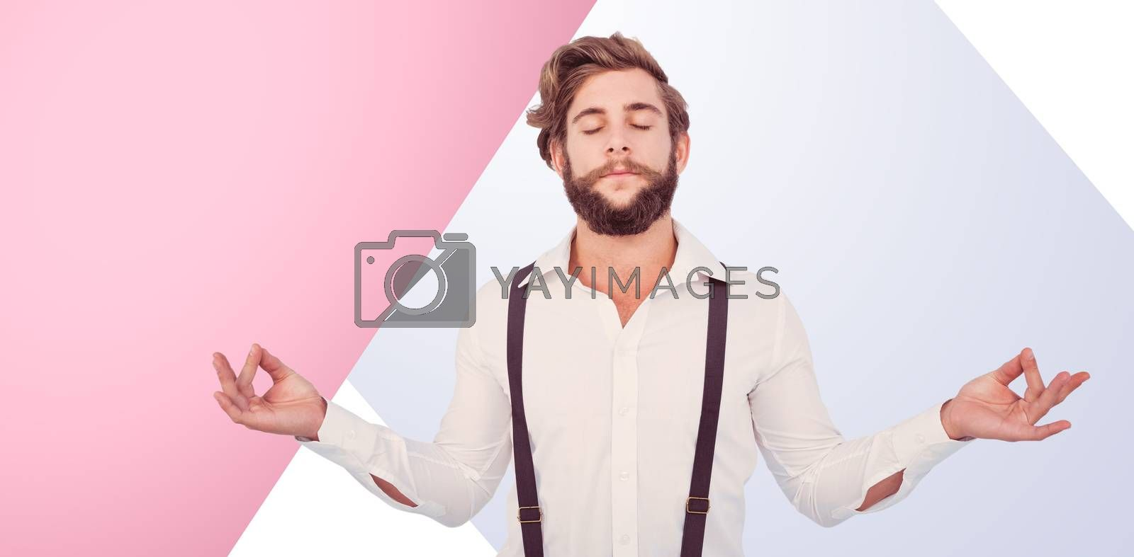 Hipster meditating arms outstretched against pink background