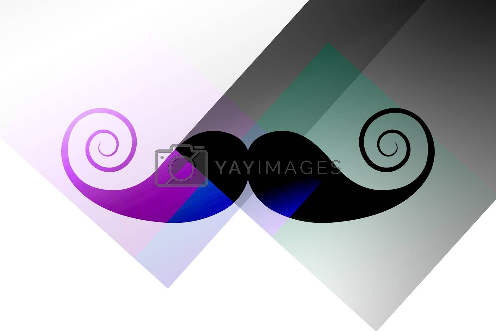 Mustache logo against colored background
