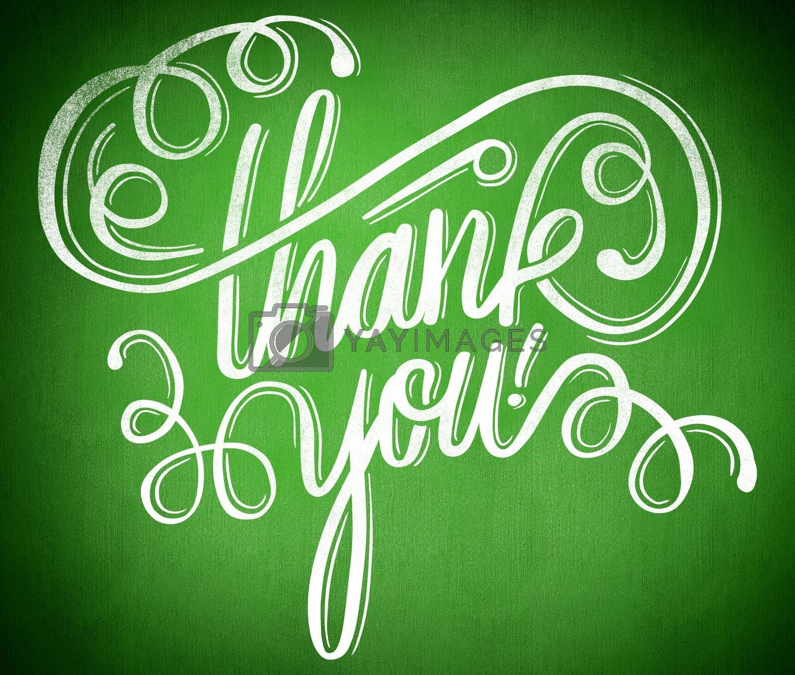 Thank you message against green background