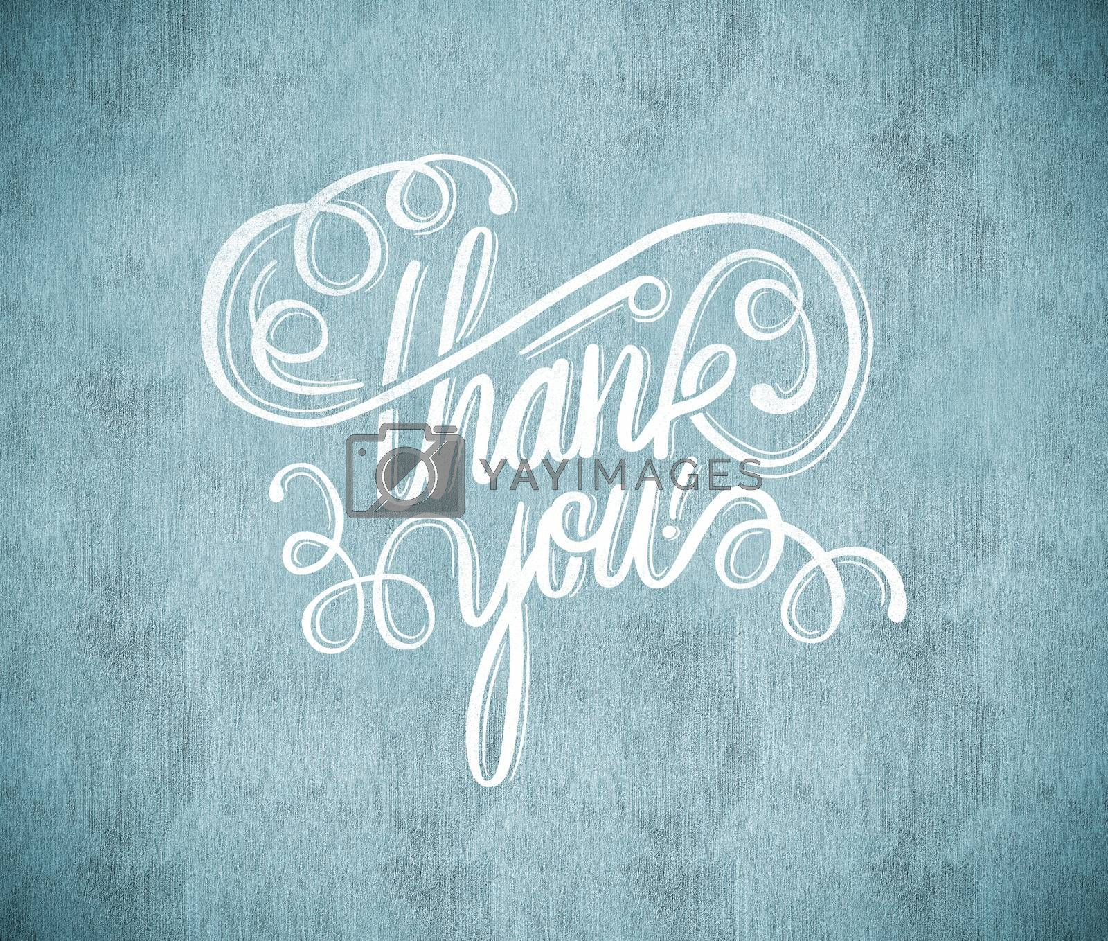 Thank you message against white and grey background