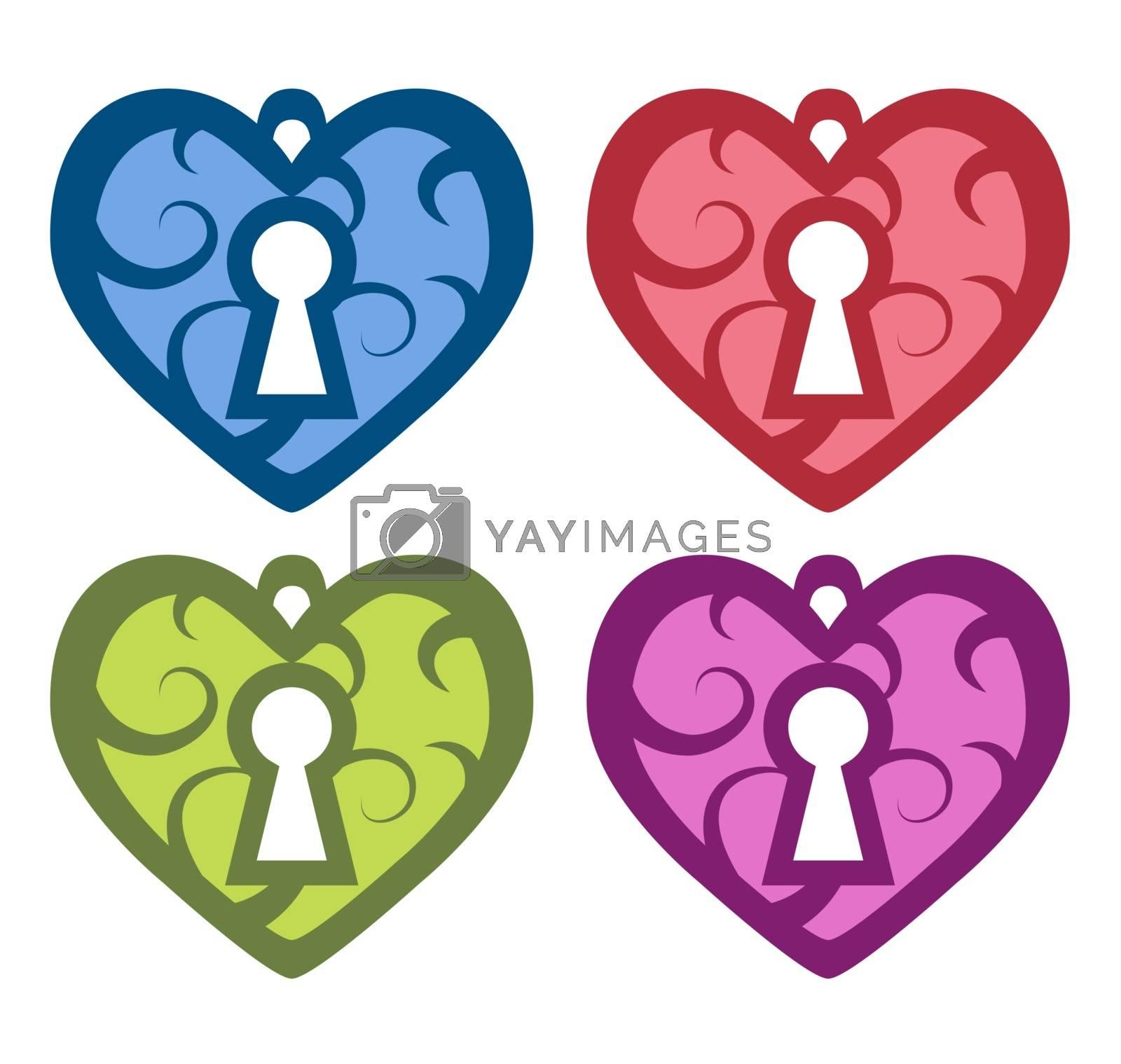 vector illustration. Decorative heart with a keyhole. set