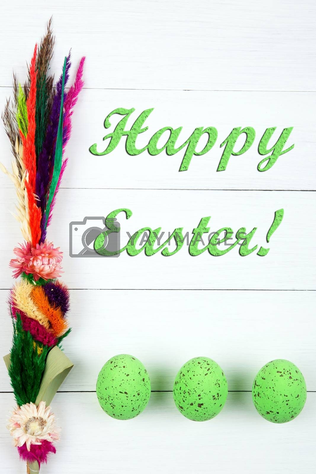 Happy easter! - easter eggs on a wooden background