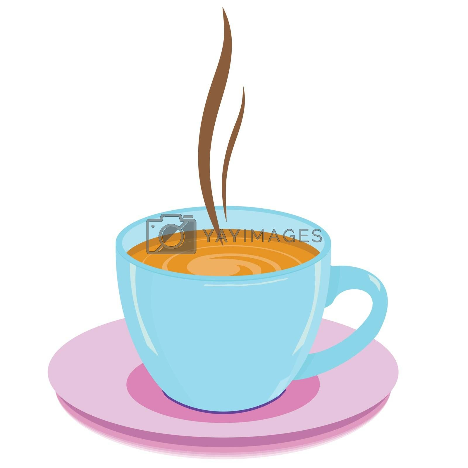 blue cup with hot drink on a white background