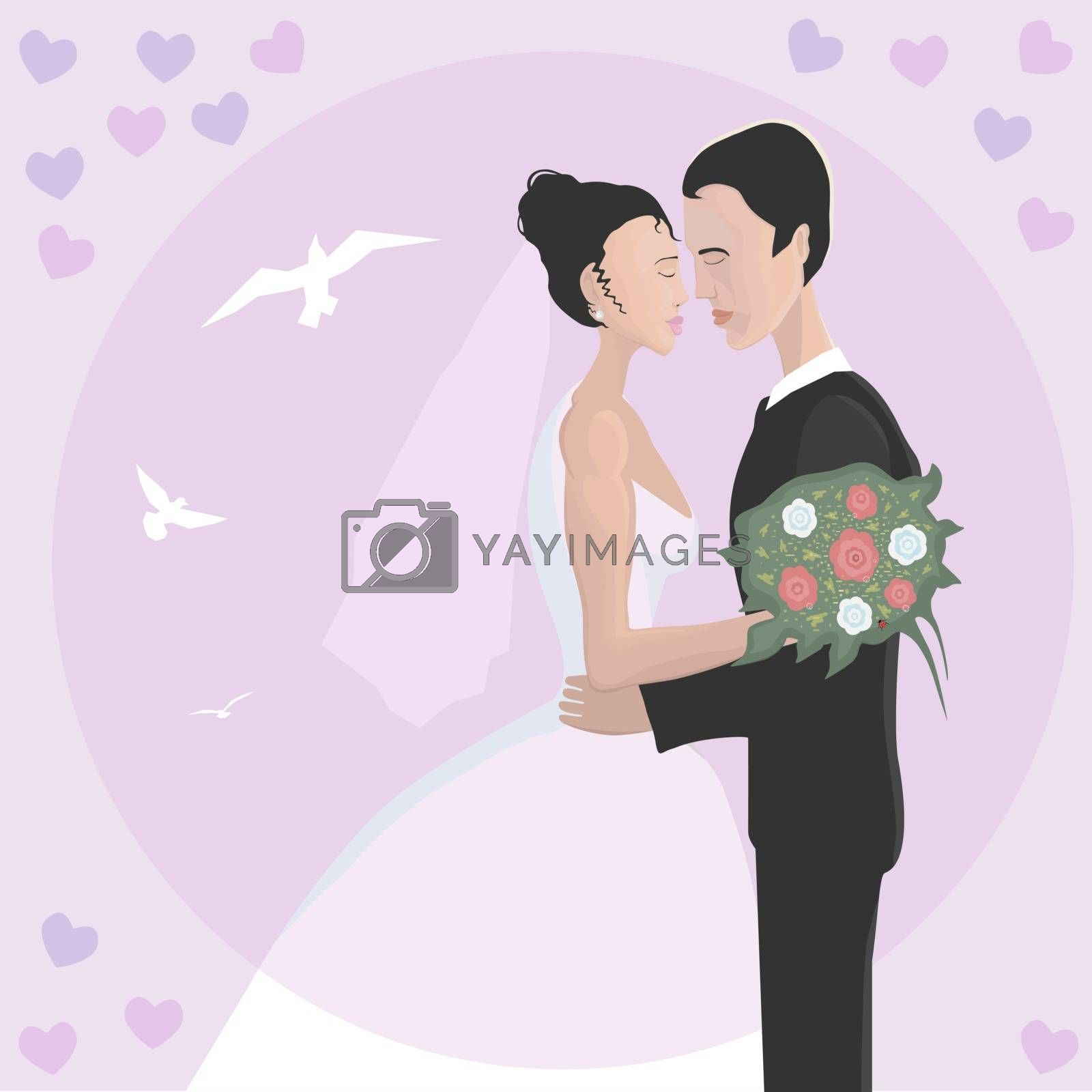 Wedding sincere people who love each other. A strong hug and a tender kiss.