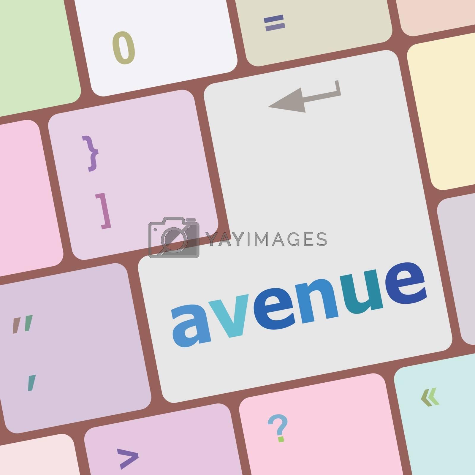 avenue word on keyboard key, notebook computer vector illustration