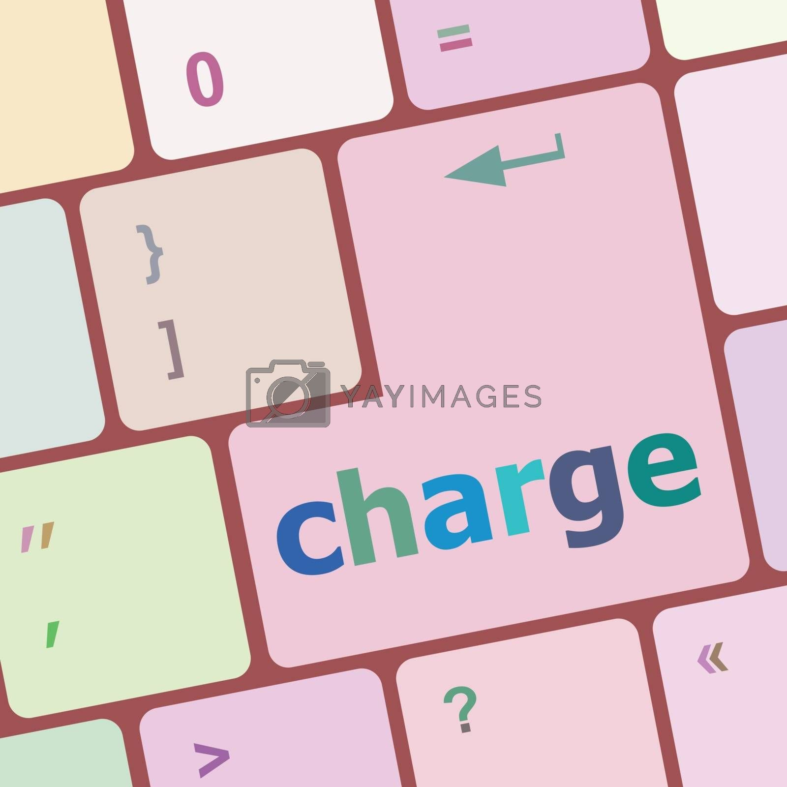 charge button on computer pc keyboard key vector illustration