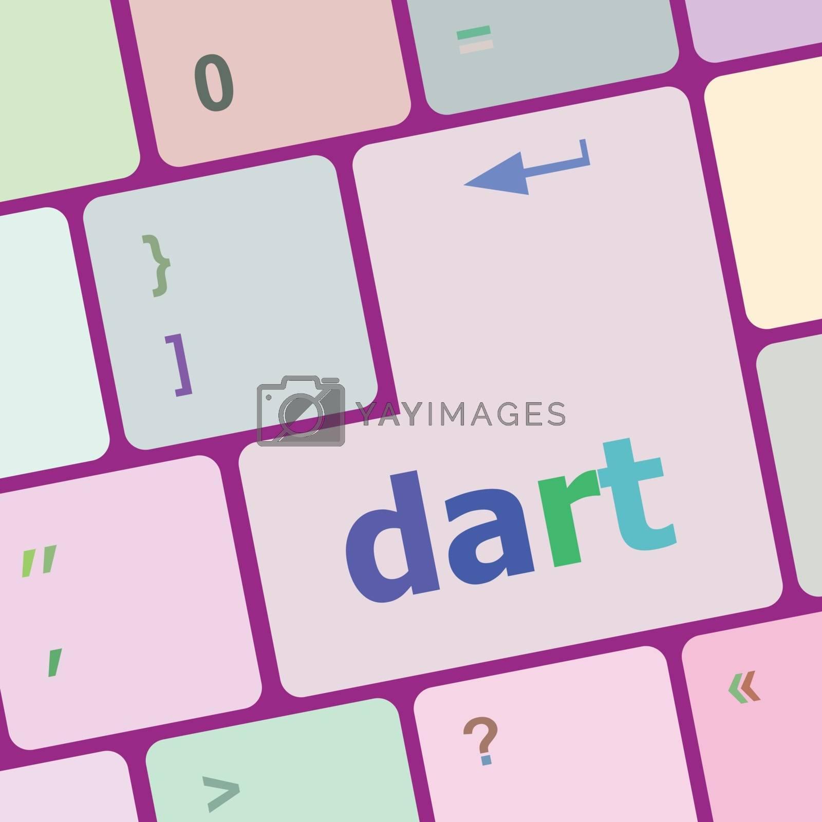 dart word on keyboard key, notebook computer button vector illustration