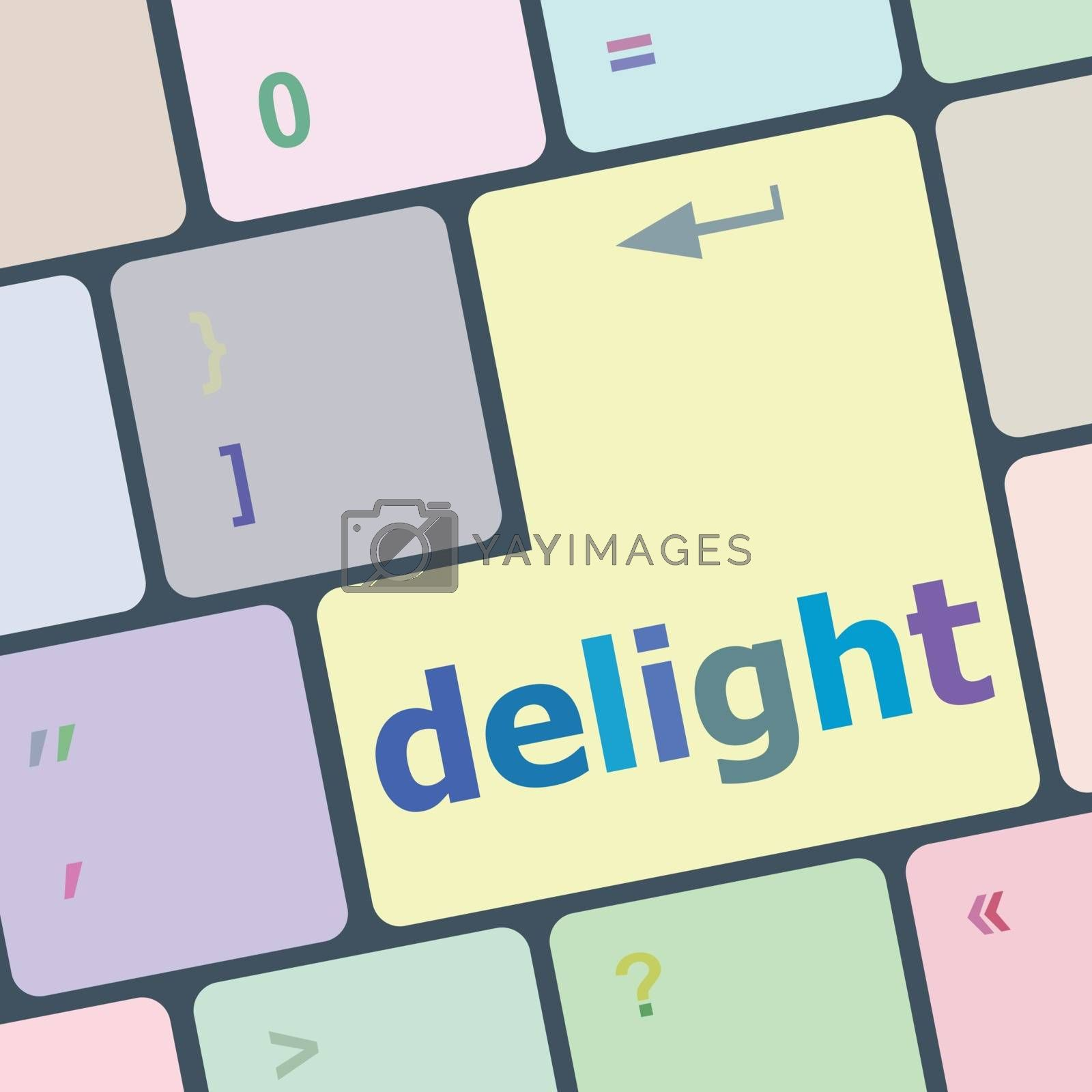 delight button on computer pc keyboard key vector illustration