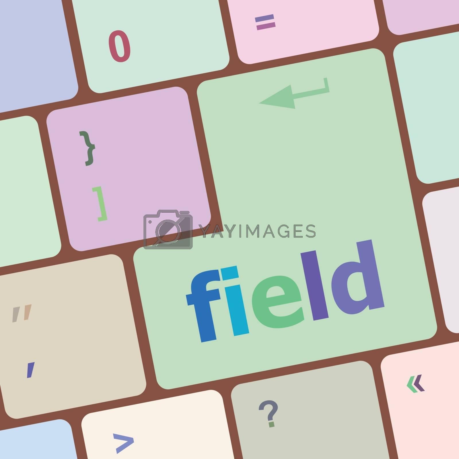 field word on keyboard key, notebook computer button vector illustration