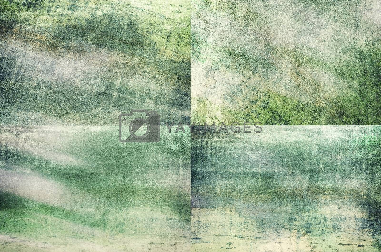 Four green colored grunge texture backgrounds in one set