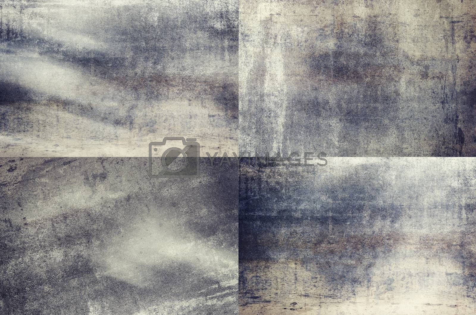Four grey colored grunge texture backgrounds in one set