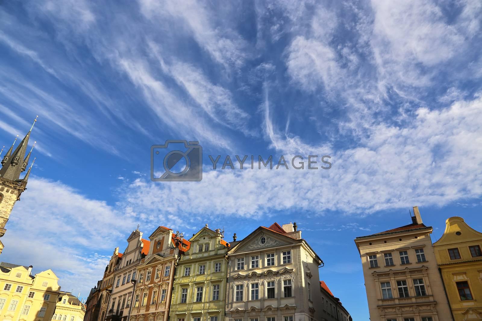 Row houses on blue sky background in Prague (Stare mesto), Czech Republic