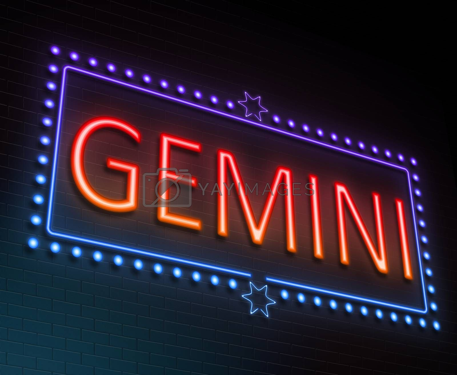 Illustration depicting an illuminated neon sign with a gemini concept.