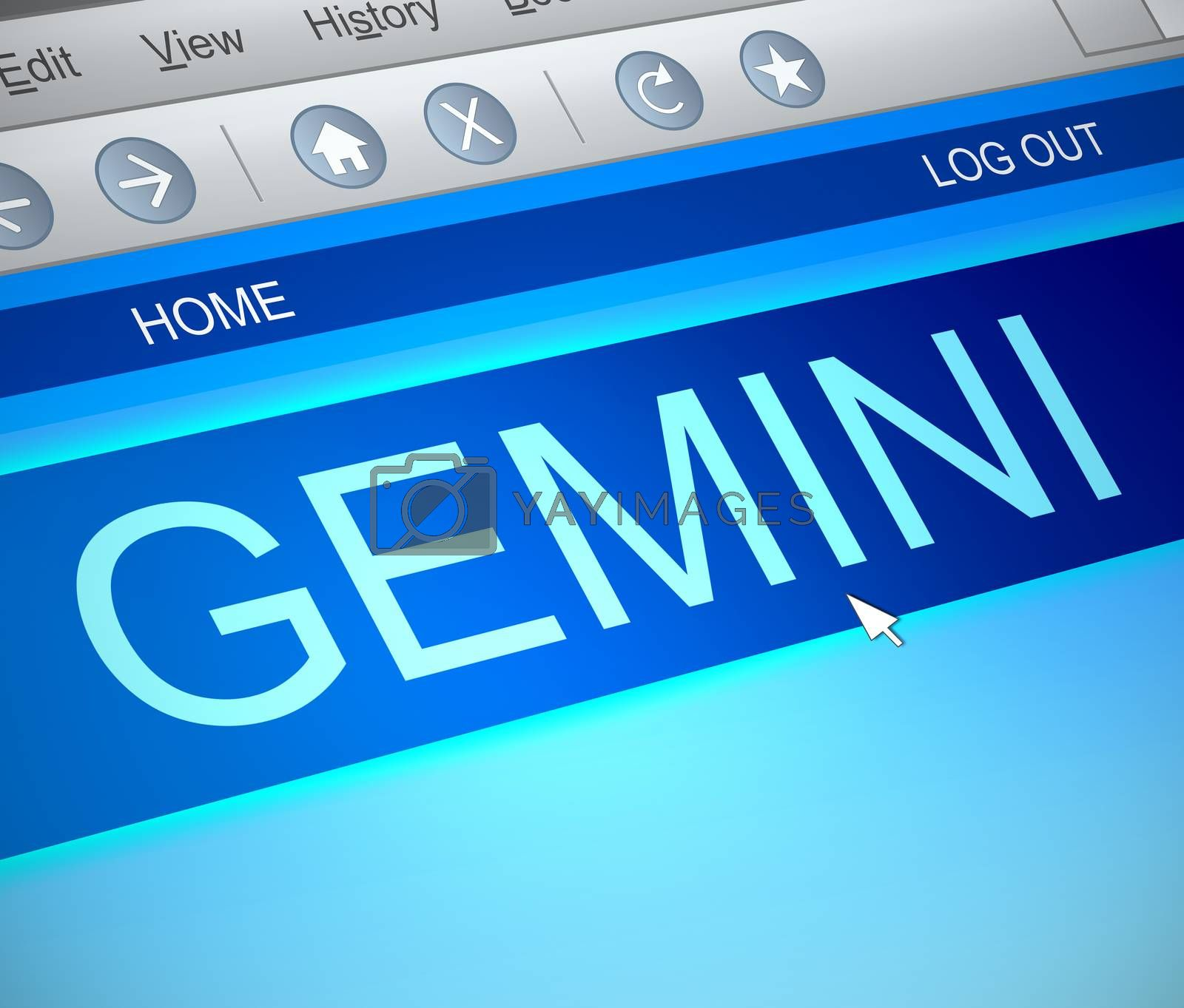 Illustration depicting a computer screen capture with a gemini concept.