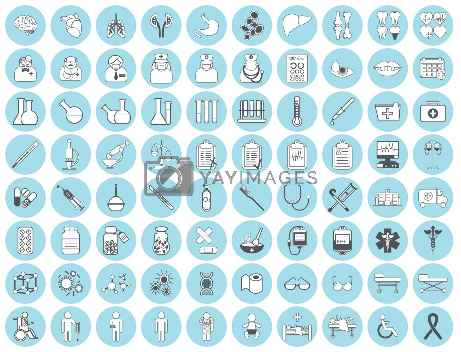 Medic icon vector illustration. Medical vaccinations outline linear. Hospital and vaccine, health medicine, doctor and laboratory, pharmacy business icons set.