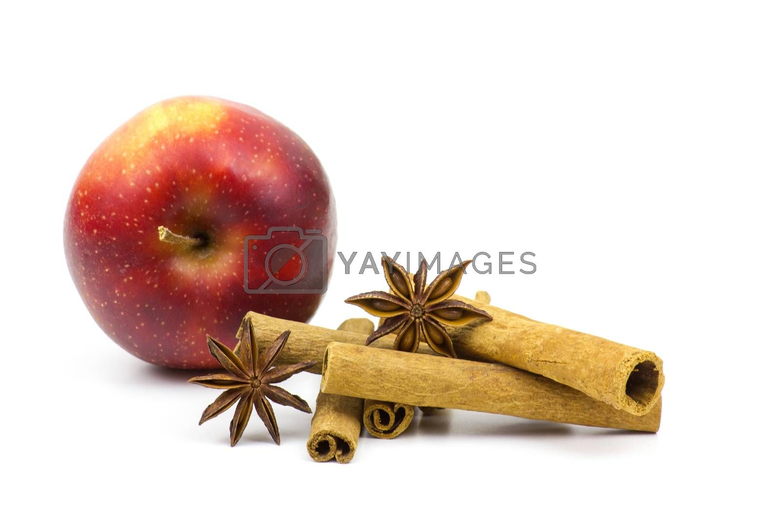 apple, cinnamon sticks and anise