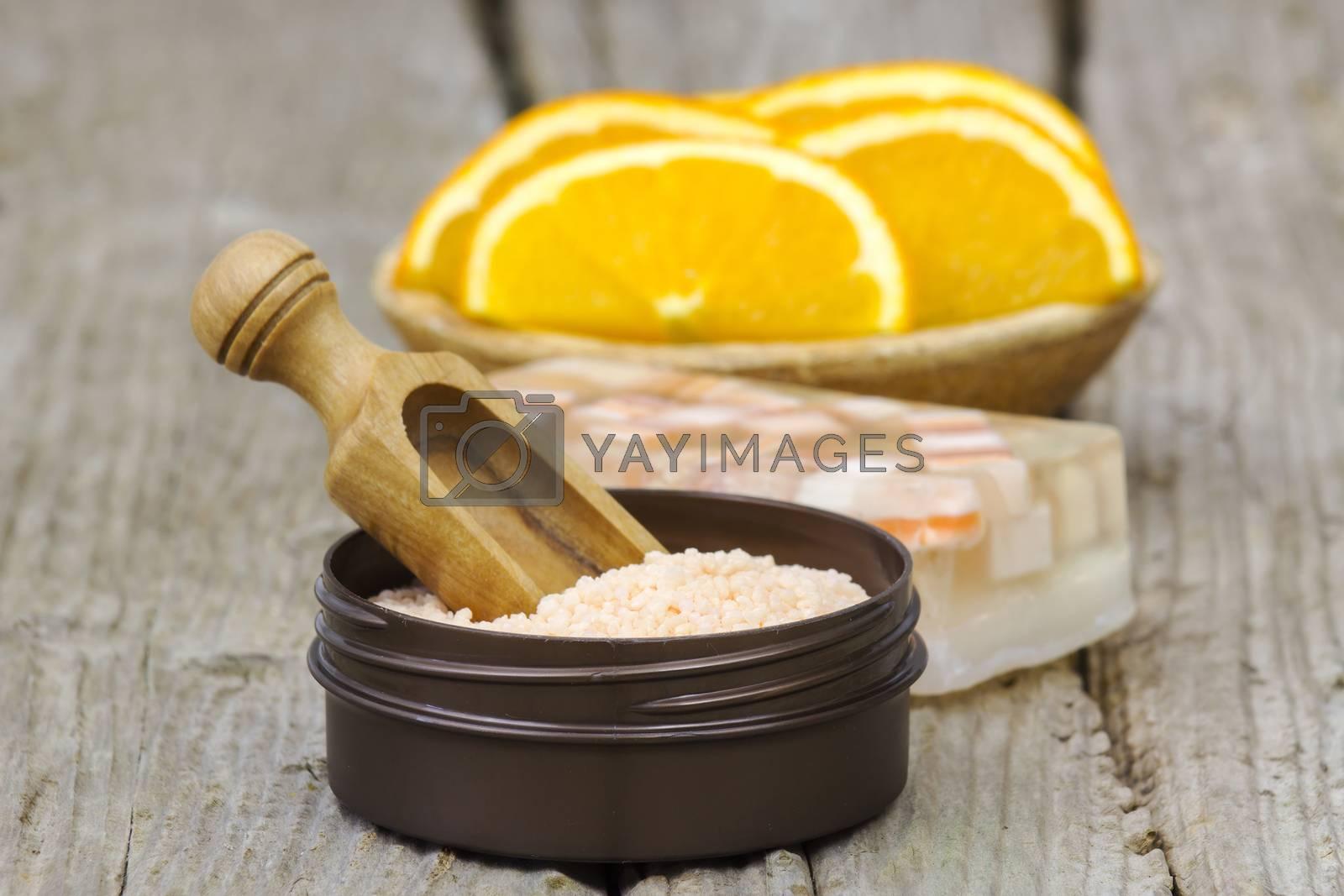 orange bath salt, soap and fresh fruits - beauty treatment