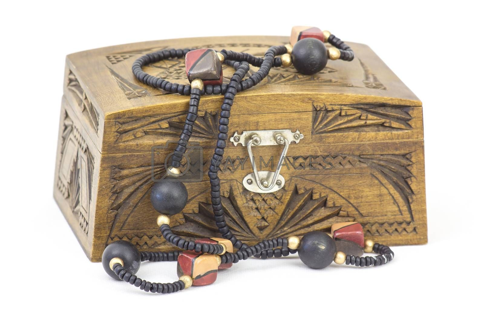 wooden casket with jewellery