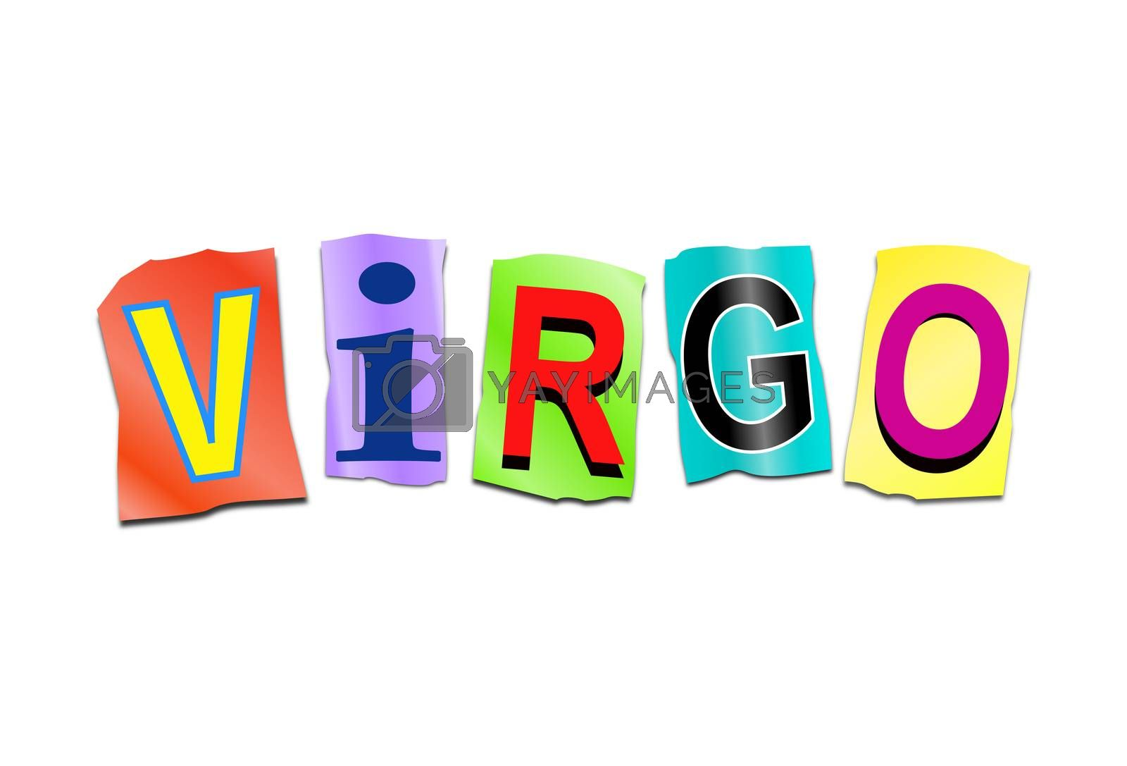 Illustration depicting a set of cut out printed letters arranged to form the word virgo.