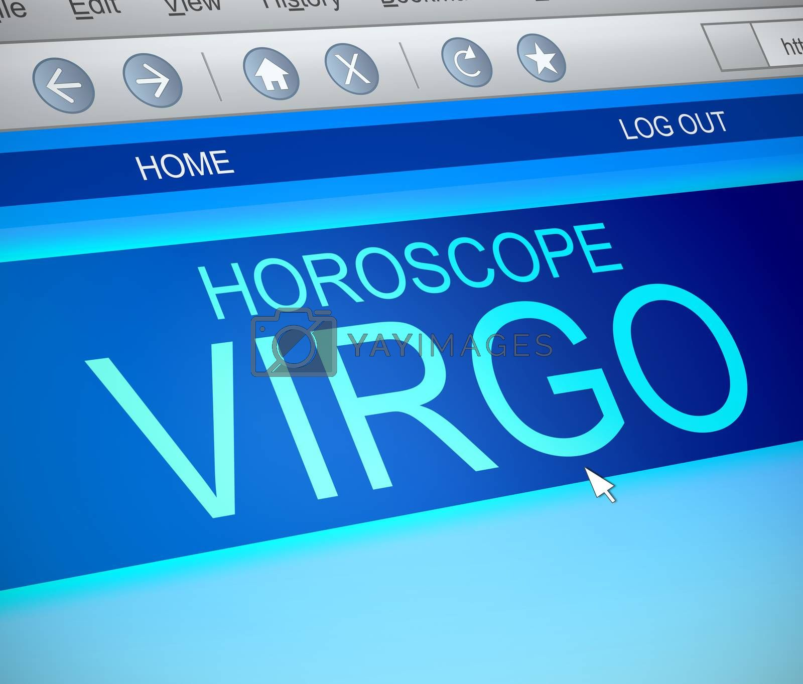 Illustration depicting a computer screen capture with a virgo concept.