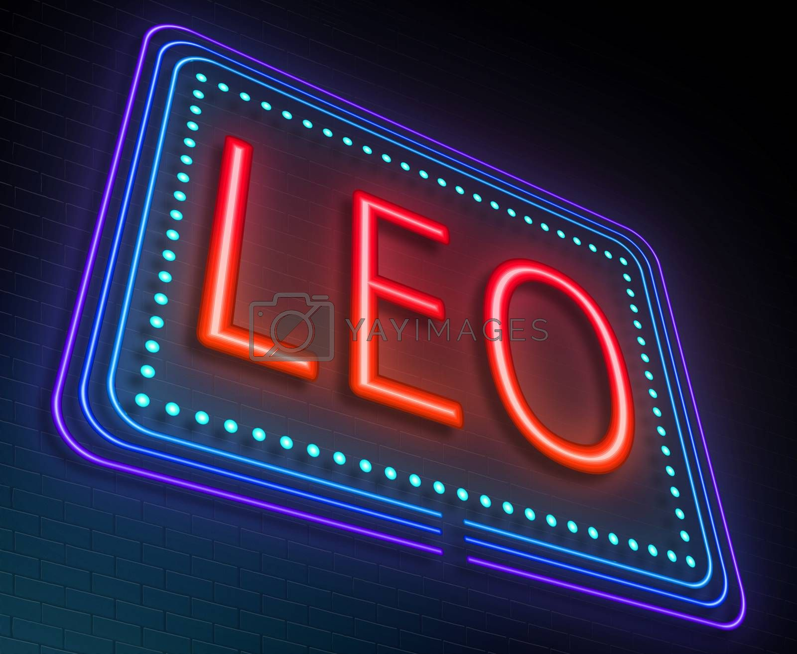 Illustration depicting an illuminated neon sign with a leo concept.