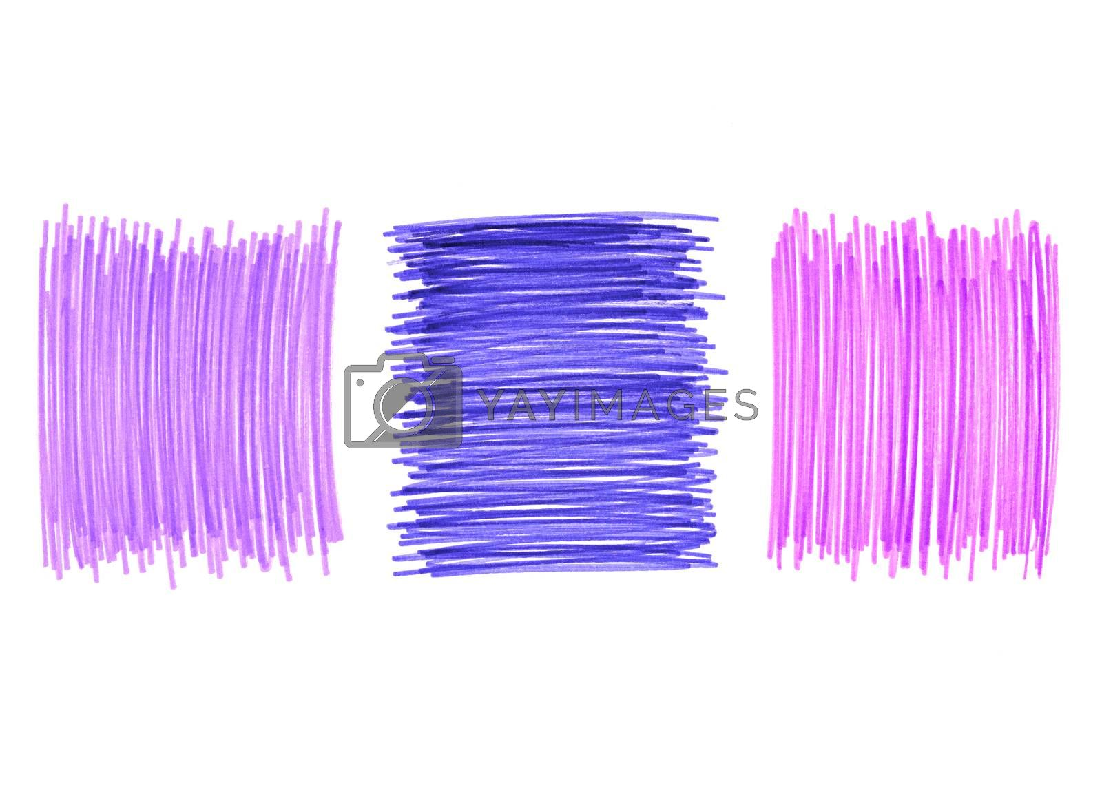 Abstract color drawn elements for design on white background