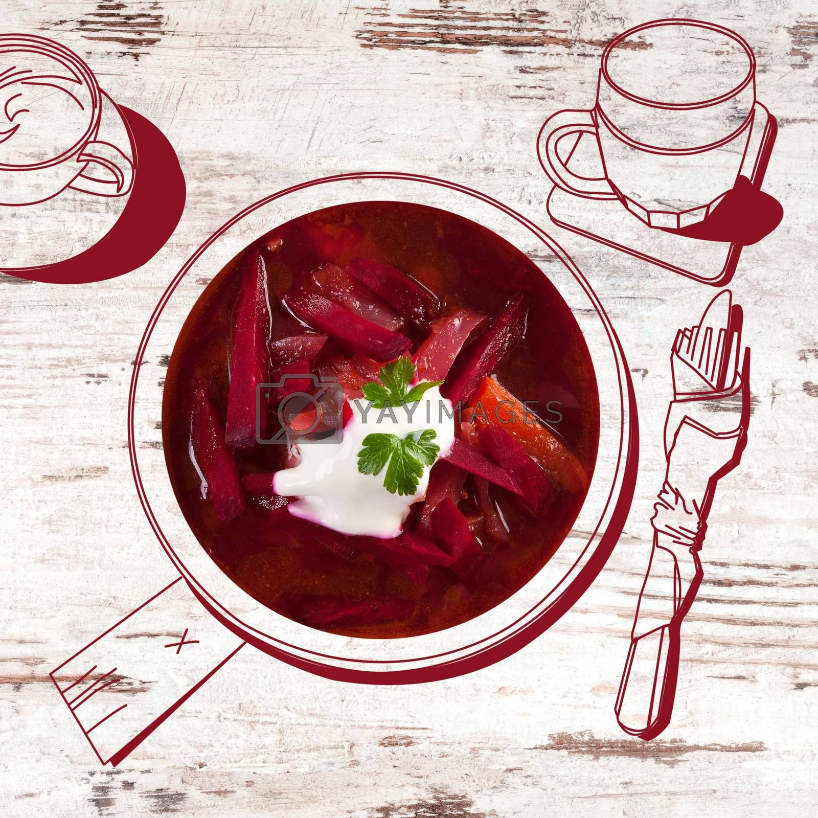 Delicious borsch soup. Fine dining, exquisite luxurious gastronomy background.