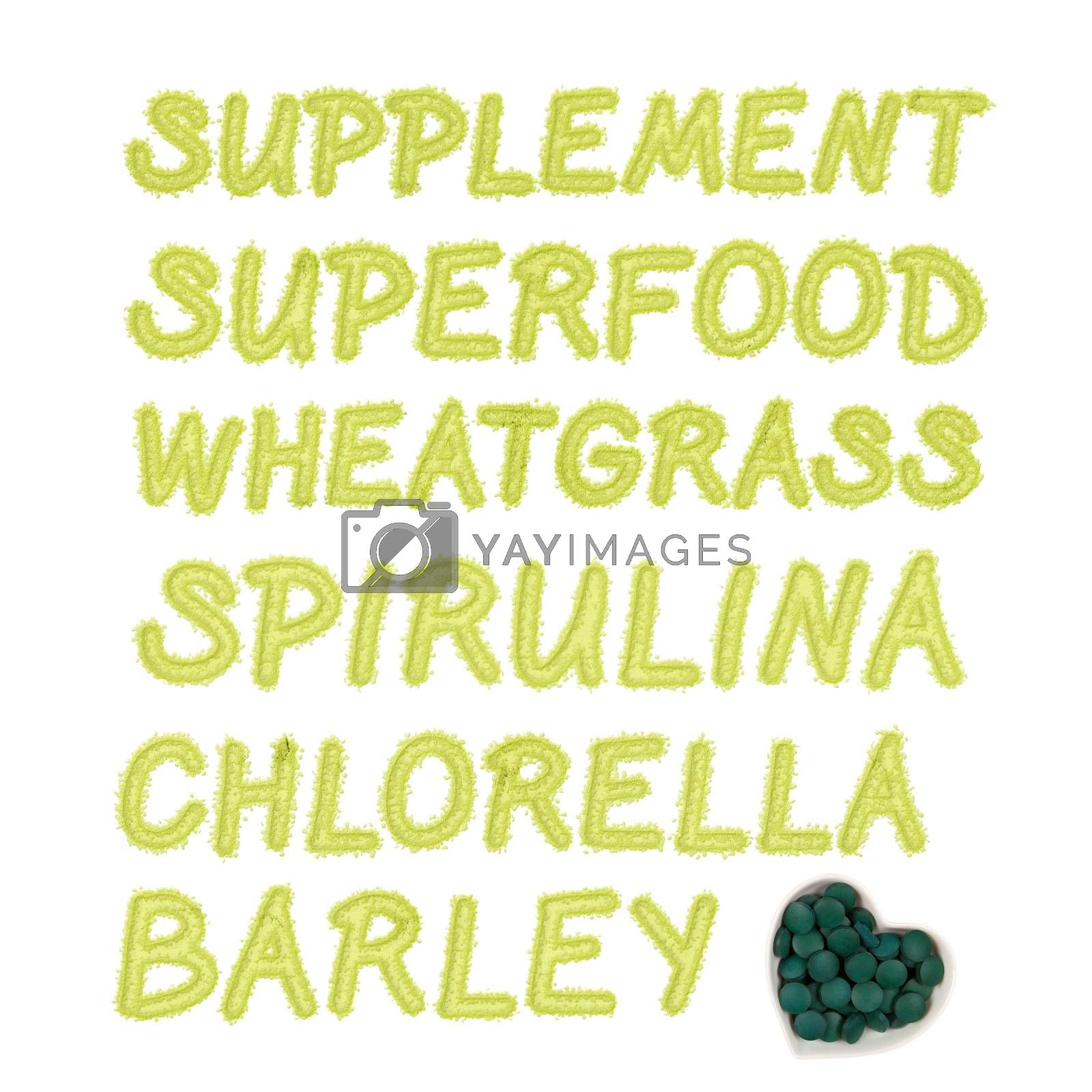Green spring detox background. Spirulina, chlorella, barley and superfood written in green ground powder letters. Dietary supplement. Spring detox and healthy living.