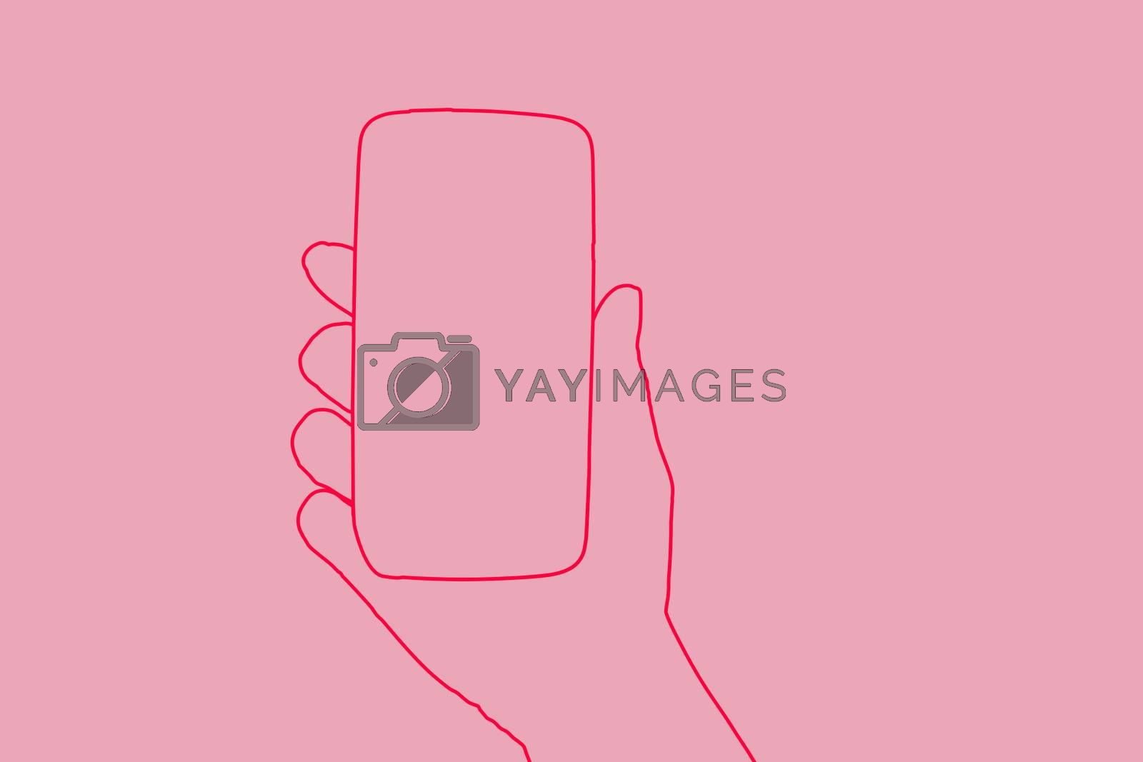 Smartphone. Female hand holding smartphone in hand. Illustration in pink. Woman and technology, feminine technology.