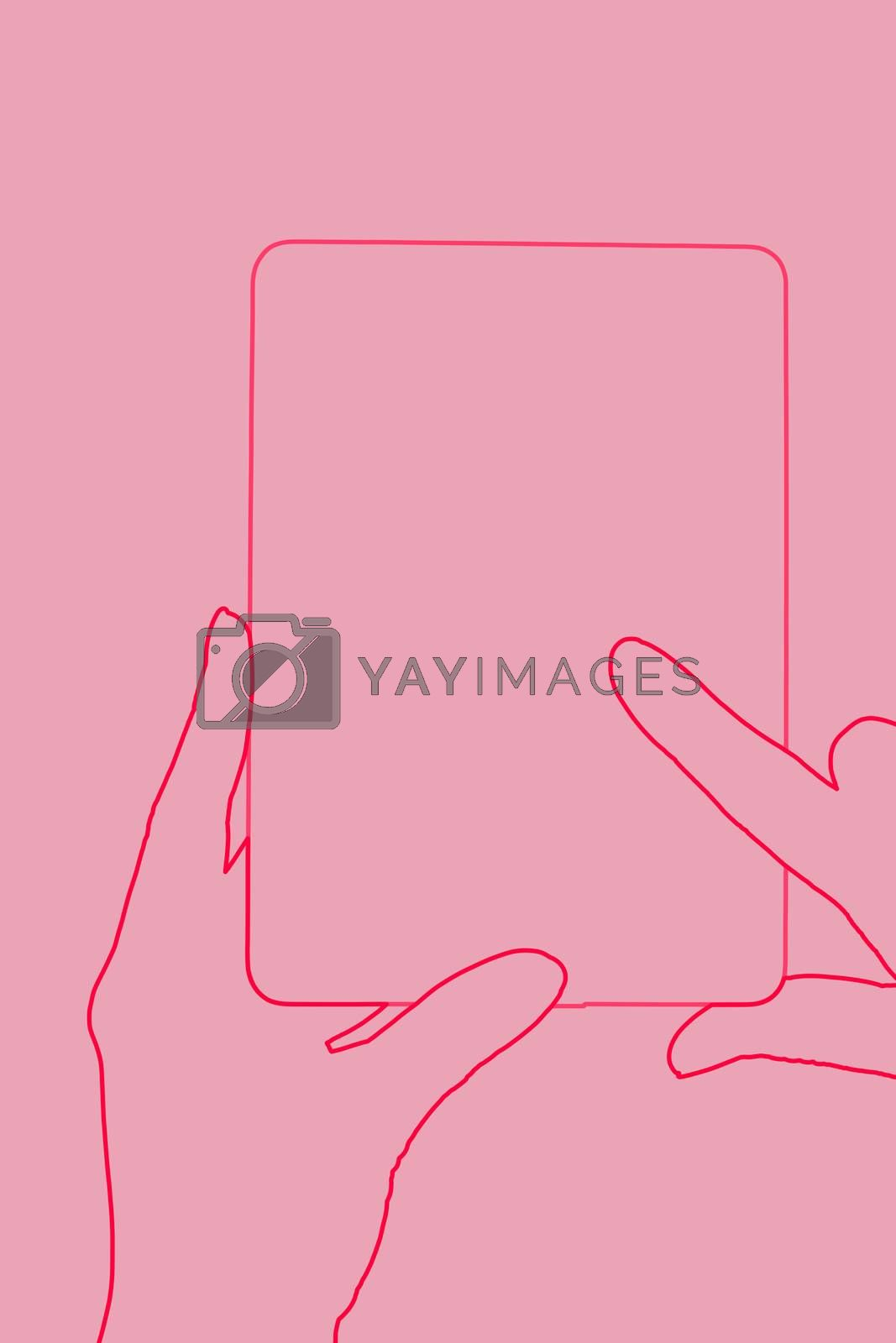 Female hand touching a tablet. Reading, education and learning concept. Illustration.