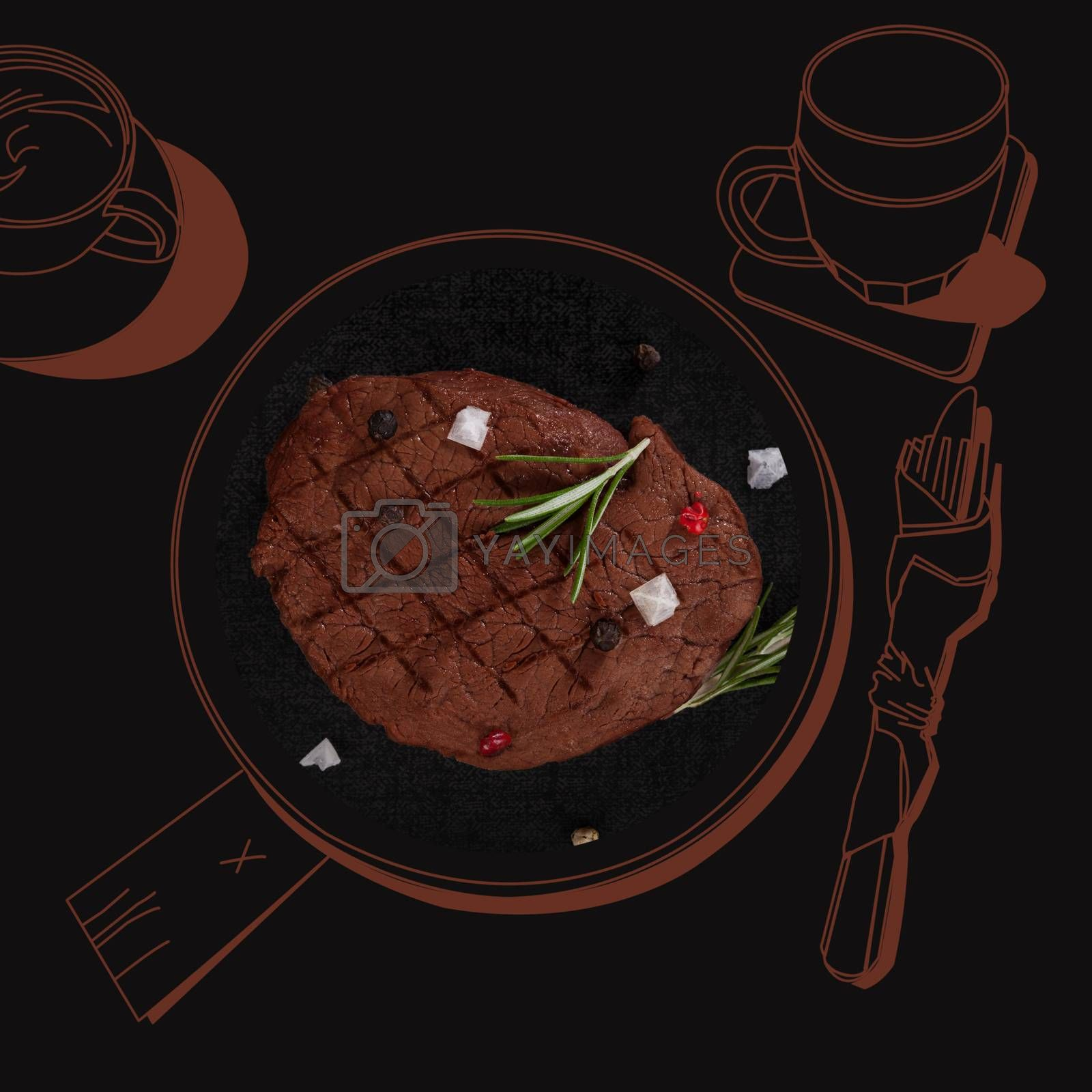 Fine dining, exquisite luxurious gastronomy background. Delicious steak.