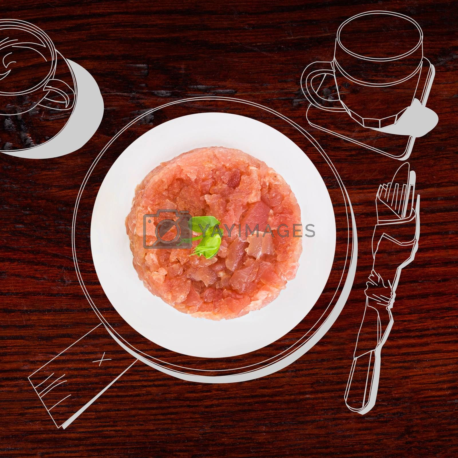 Delicious salmon tartare. Fine dining, exquisite luxurious gastronomy background.