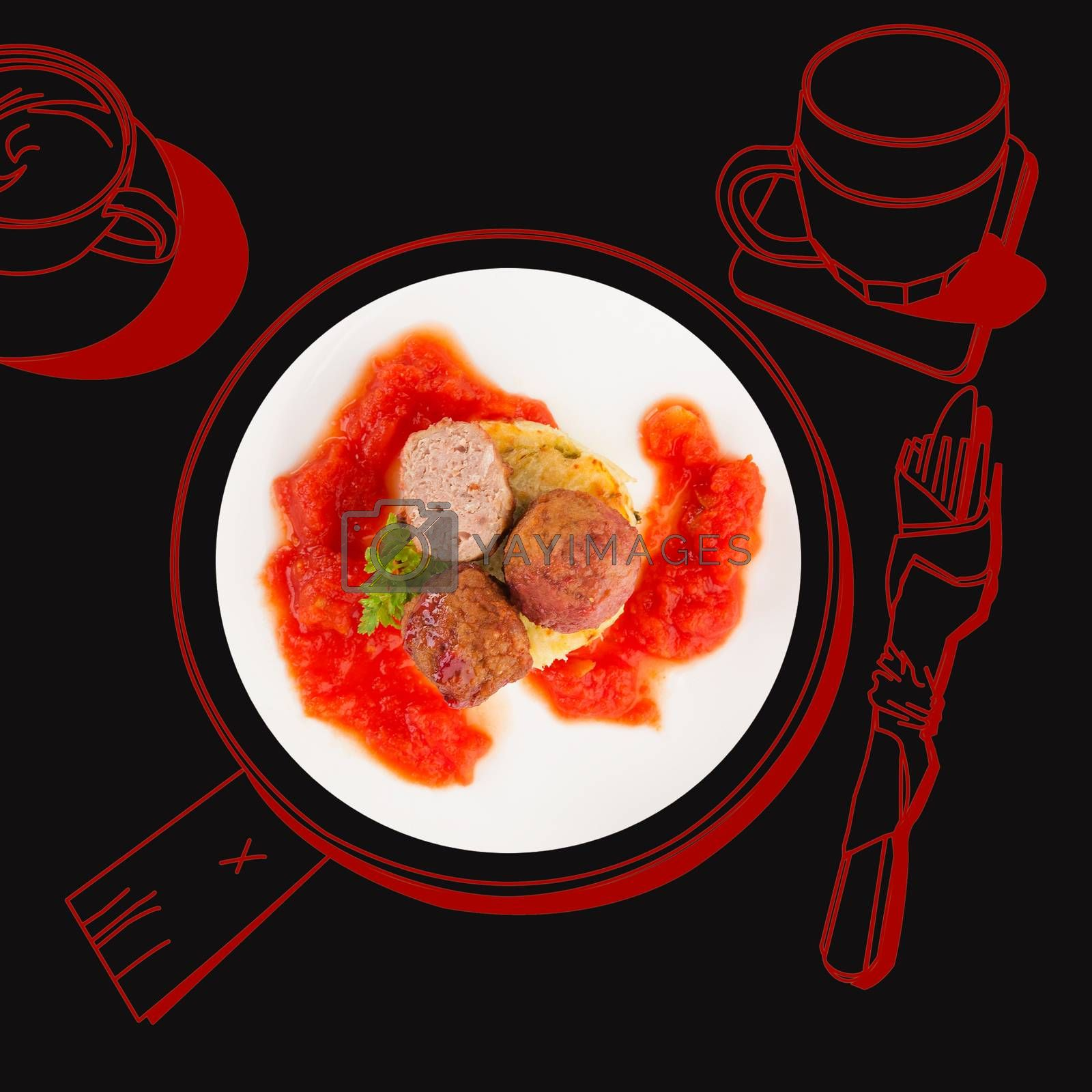 Delicious meatballs. Fine dining, exquisite luxurious gastronomy background.
