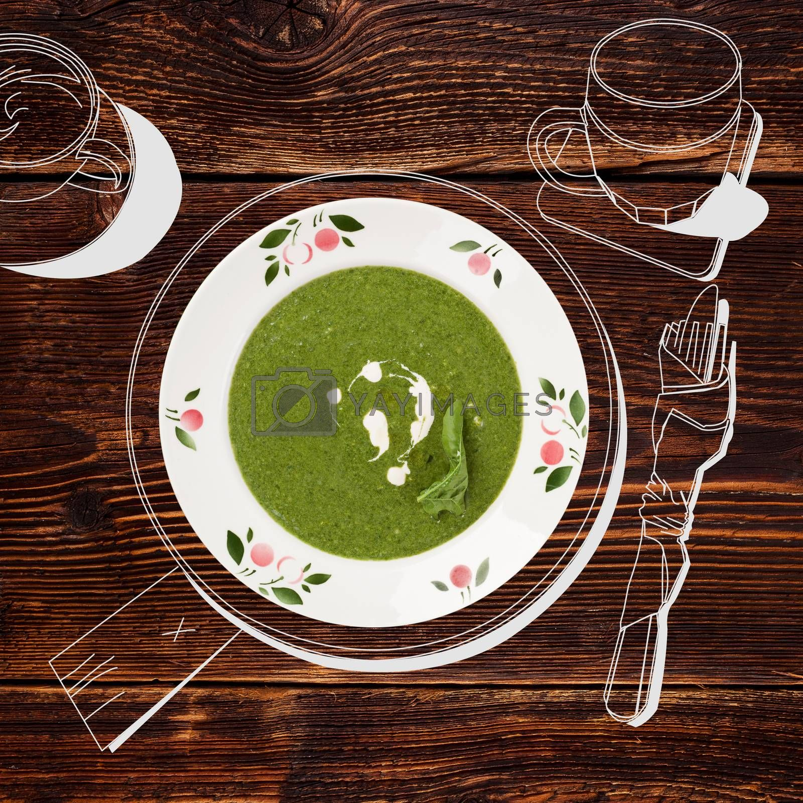 Delicious spinach soup. Fine dining, exquisite luxurious gastronomy background.