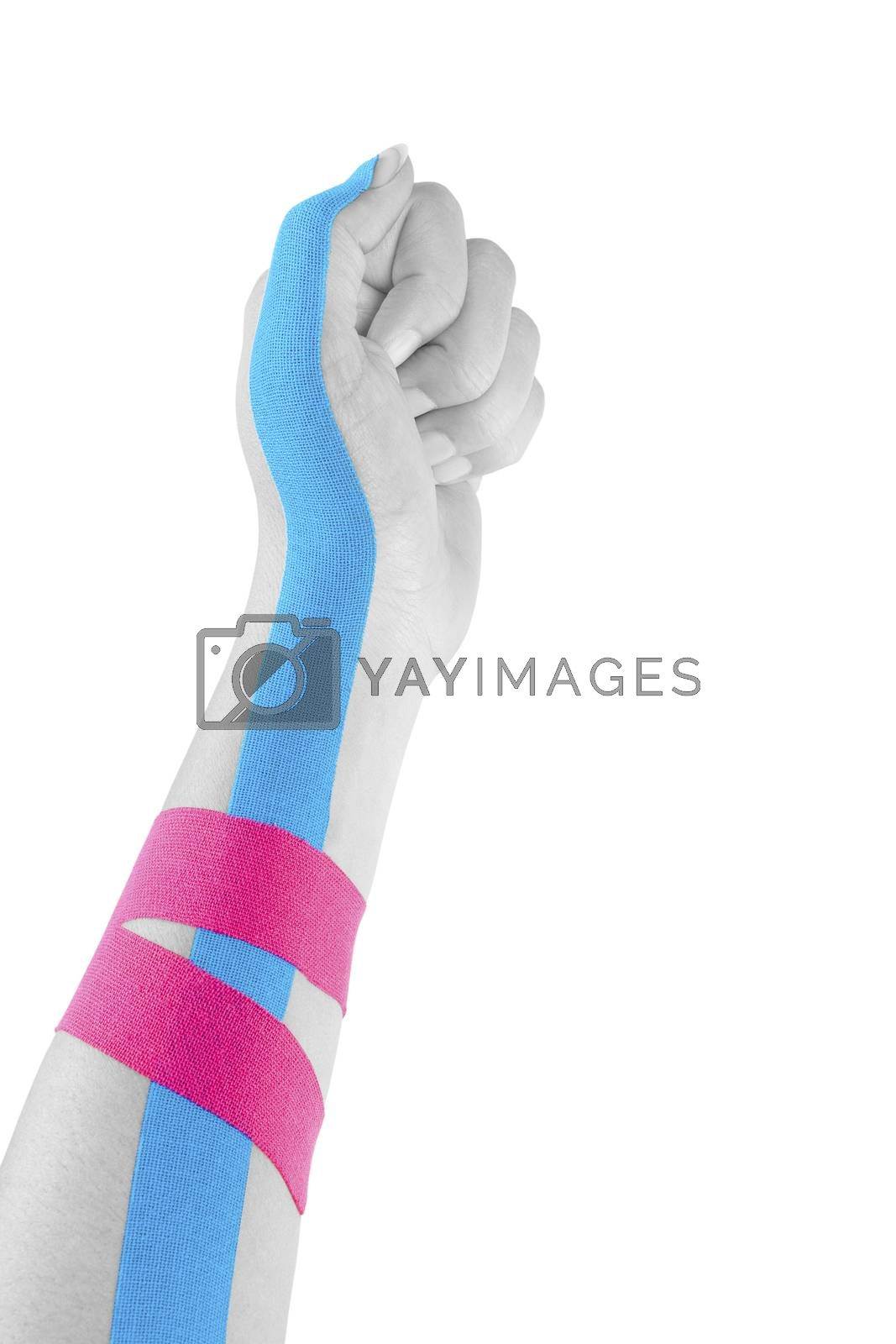 Kinesio tape on female hand. by eskymaks