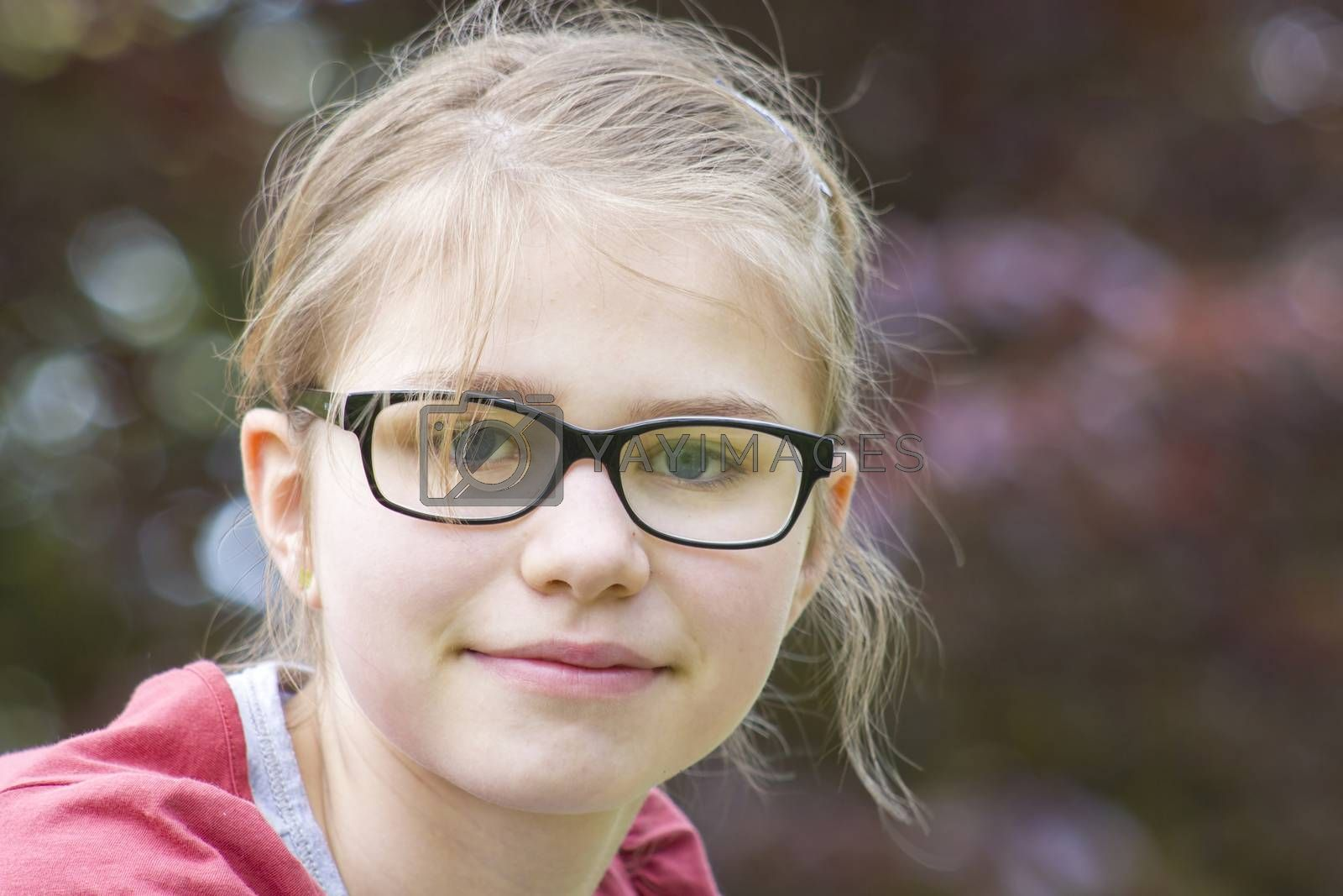 portrait of young girl with glasses by miradrozdowski