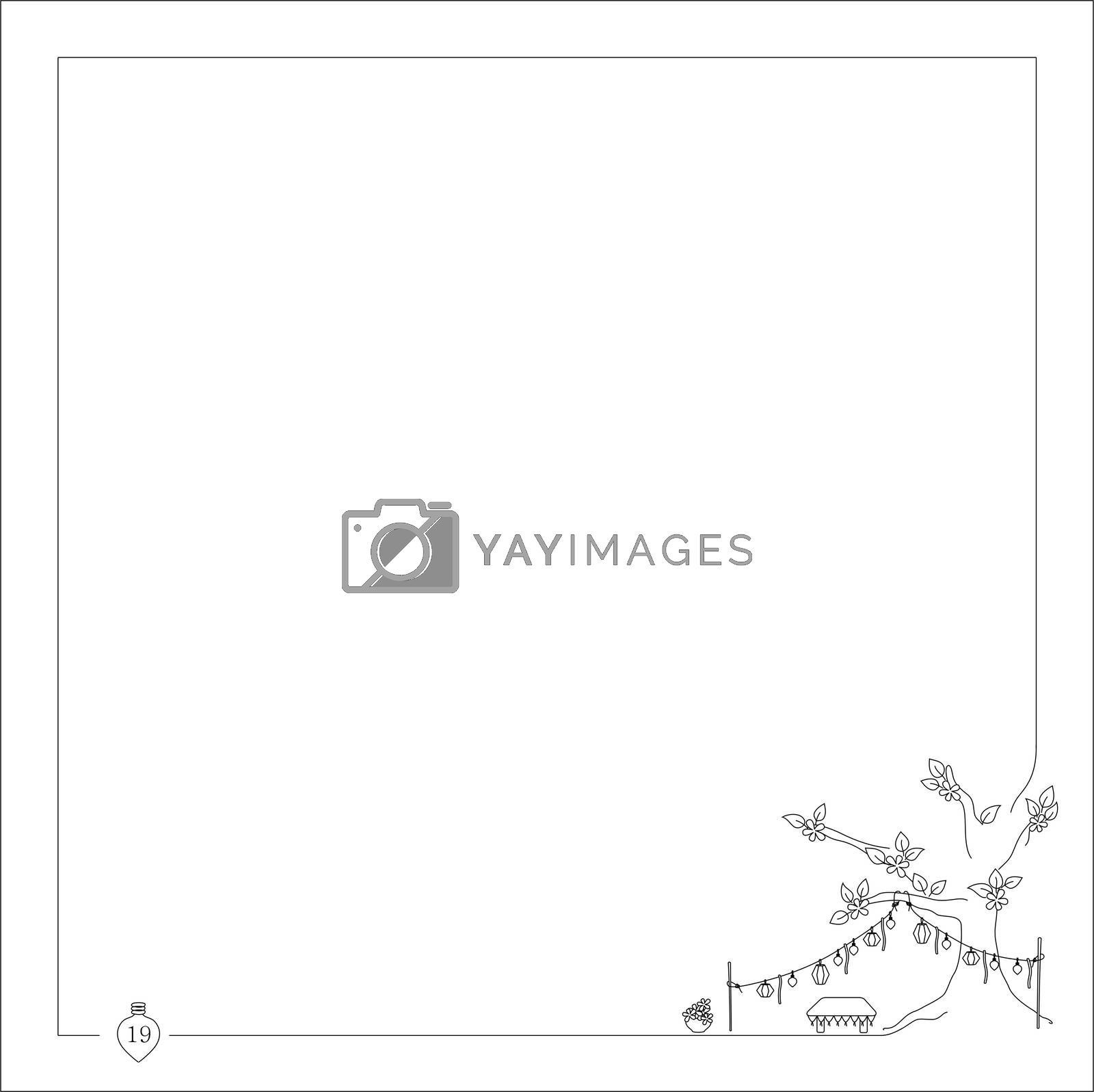 Royalty free image of garland on the tree for notebooks and books with frame by mturhanlar
