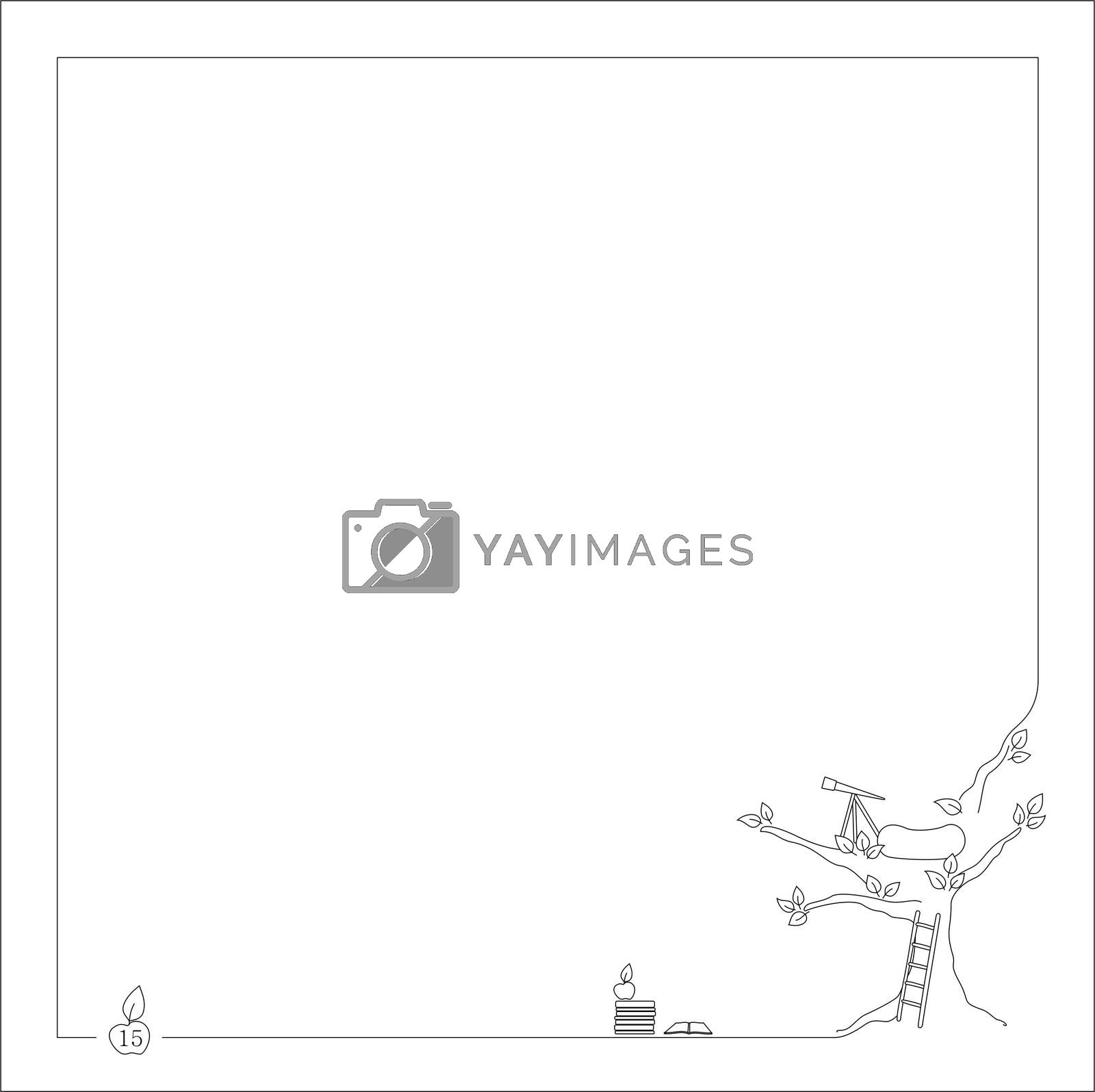 Royalty free image of ladder near the tree for notebook and book with frame by mturhanlar