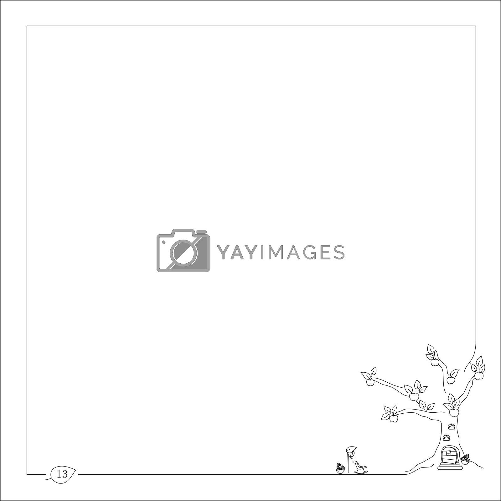 Royalty free image of sweet home in the tree for notebook and book with frame by mturhanlar