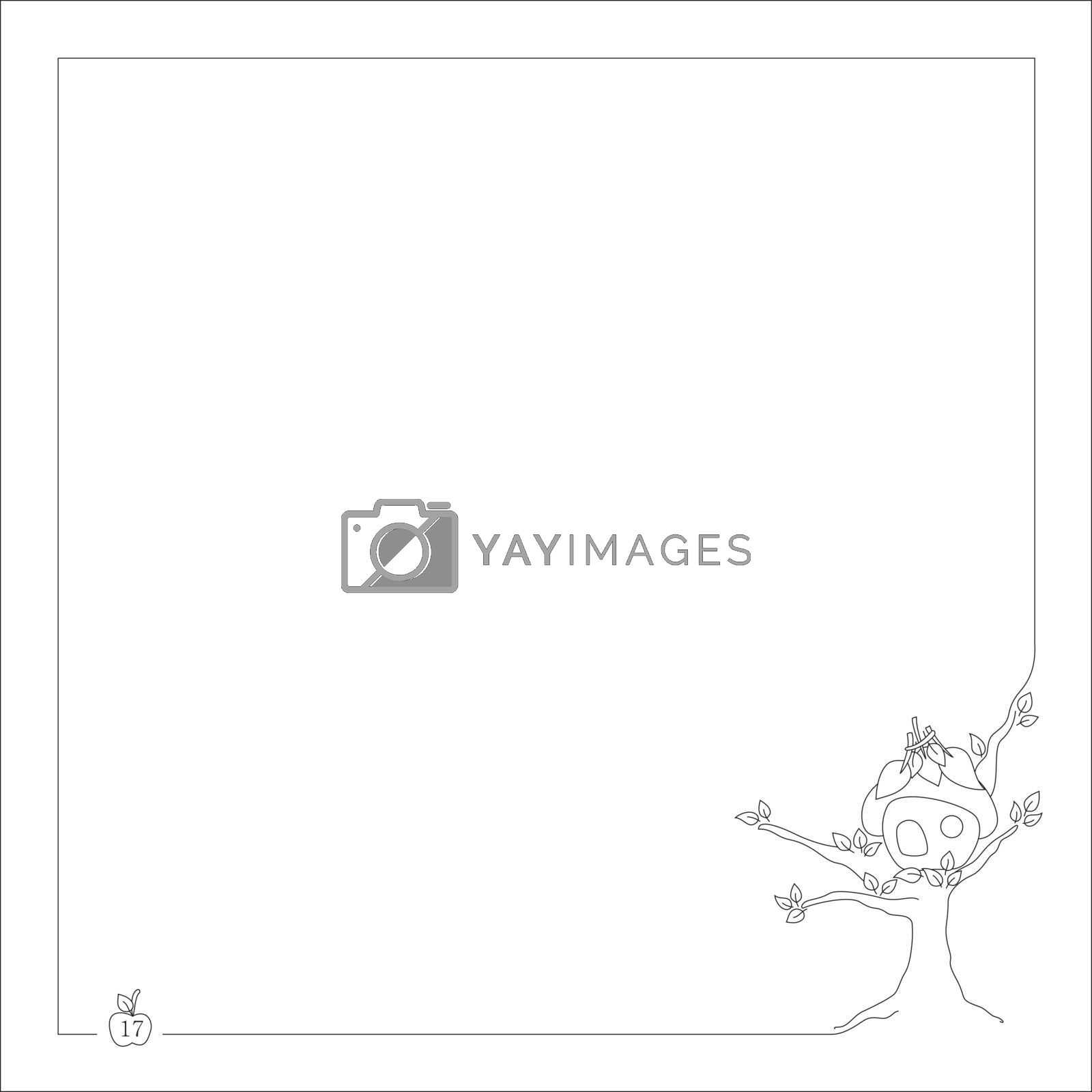 Royalty free image of small house on the tree for notebook and book with frame by mturhanlar