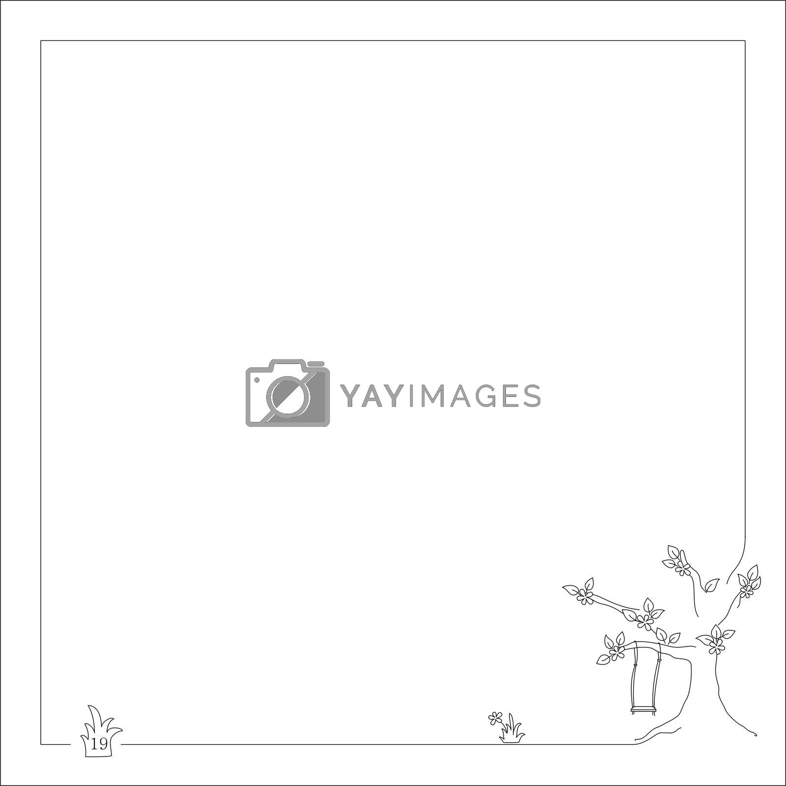 Royalty free image of swing on the tree for notebook and book with frame by mturhanlar