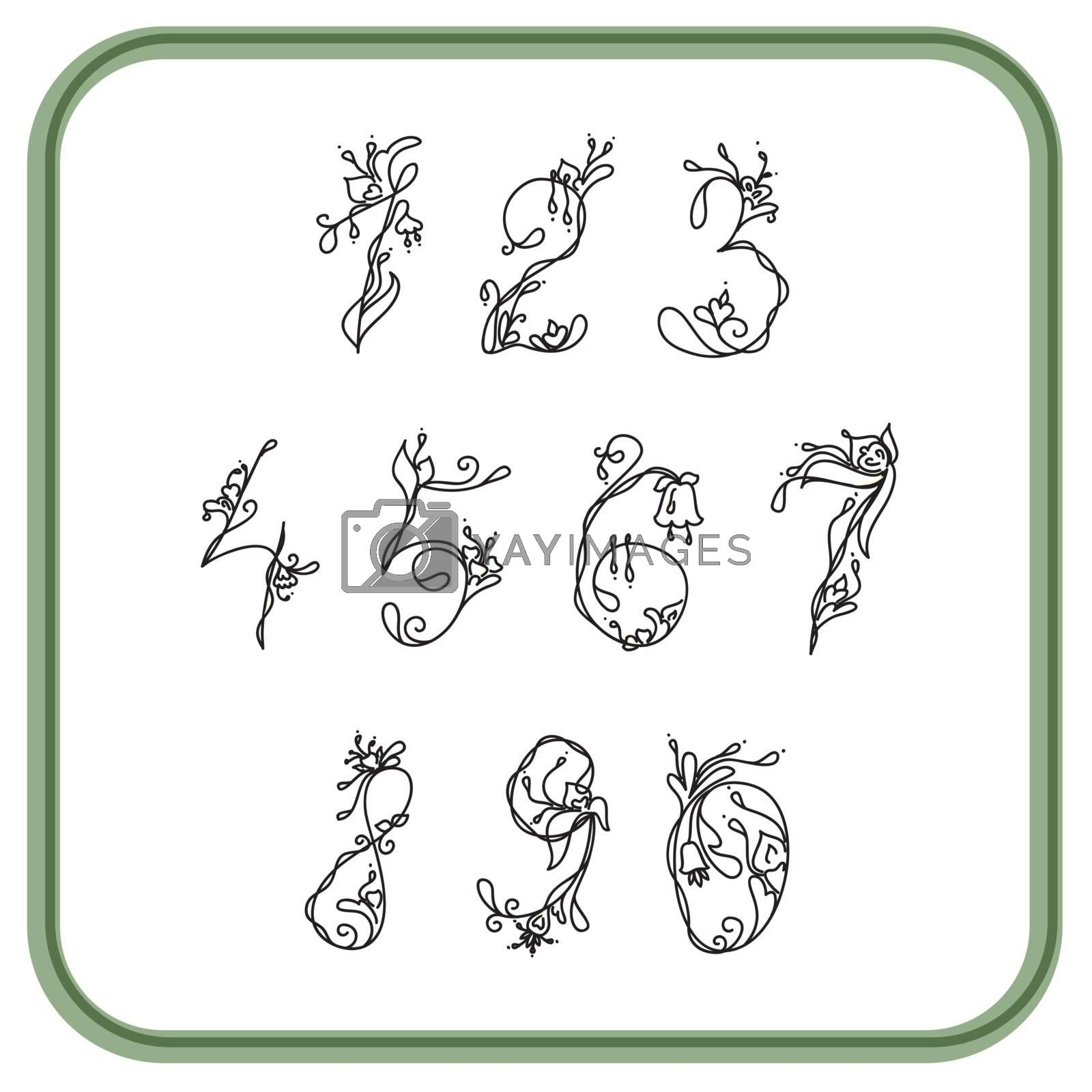 Royalty free image of Numbers with exotic flowers white and black for writing by mturhanlar