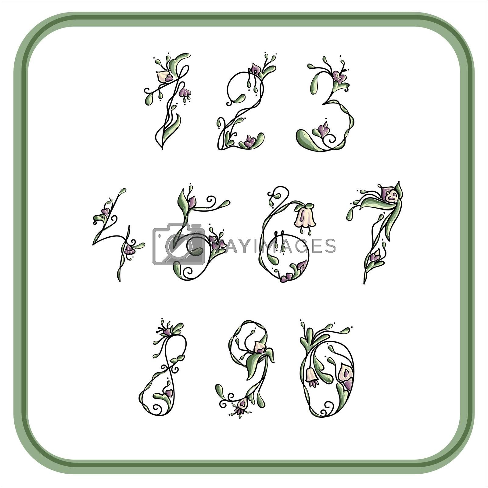 Royalty free image of Numbers with exotic flowers for writing by mturhanlar