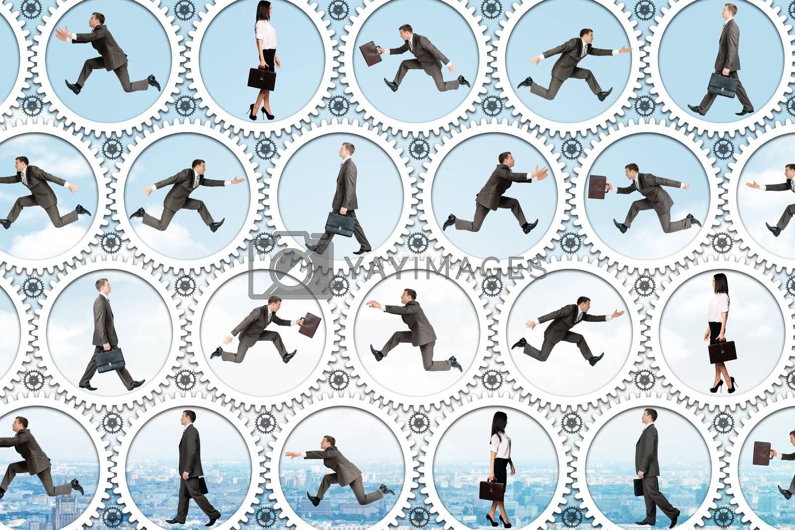 Businessmen running inside gears on blue background, business concept