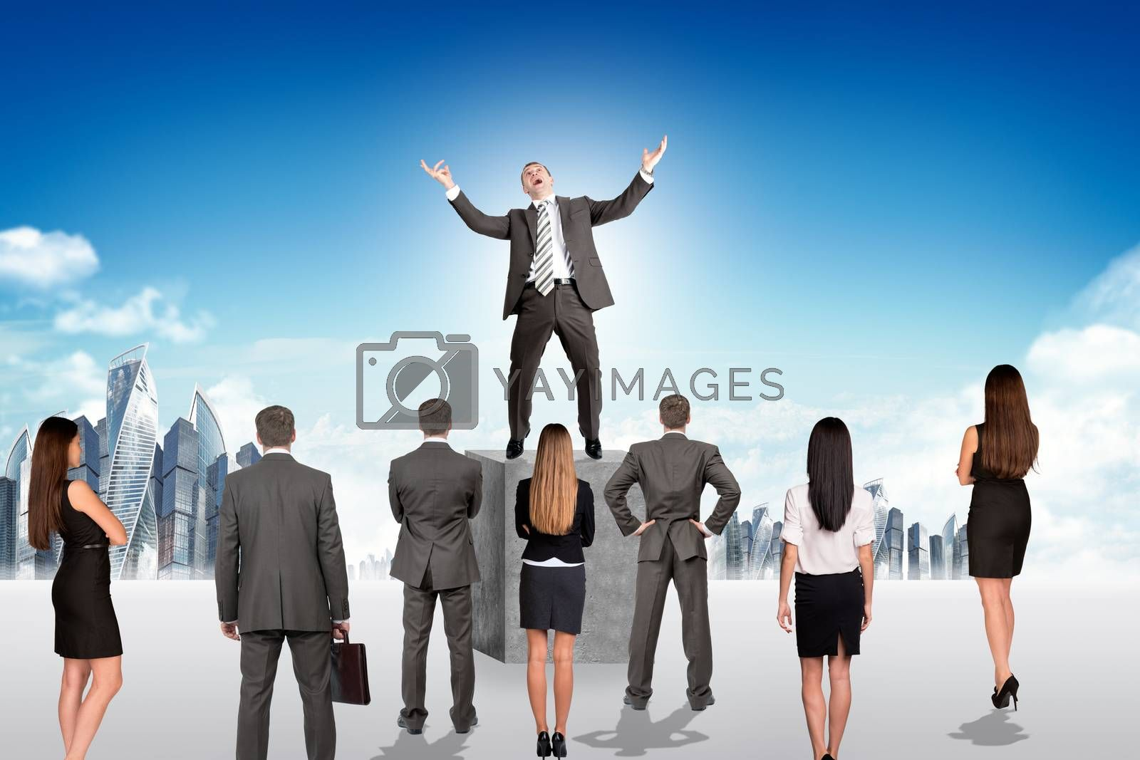 Set of business people looking at main person, leader concept