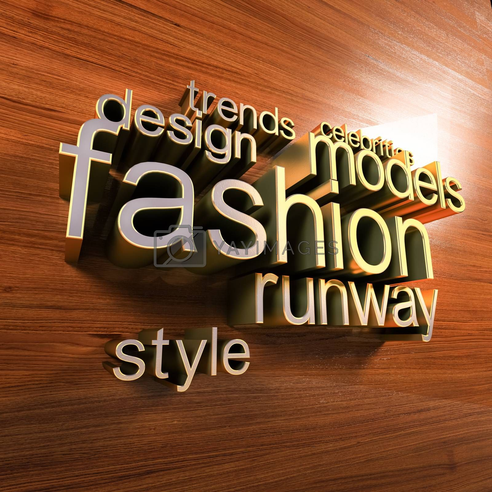 Golden letters forming the fashion words  on a wooden wall. Fashion blog concept word cloud background