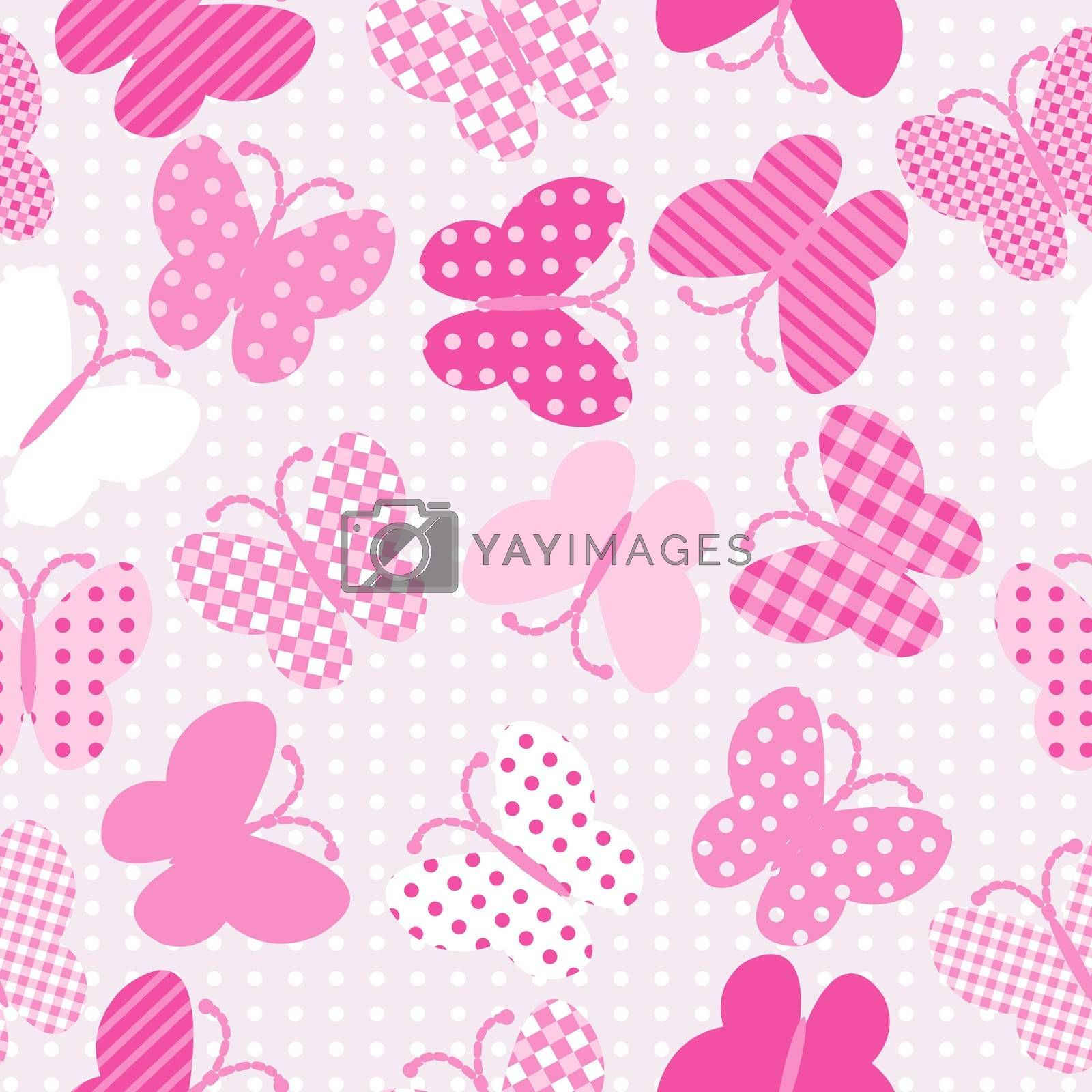 Pink patterned butterflies seamless background