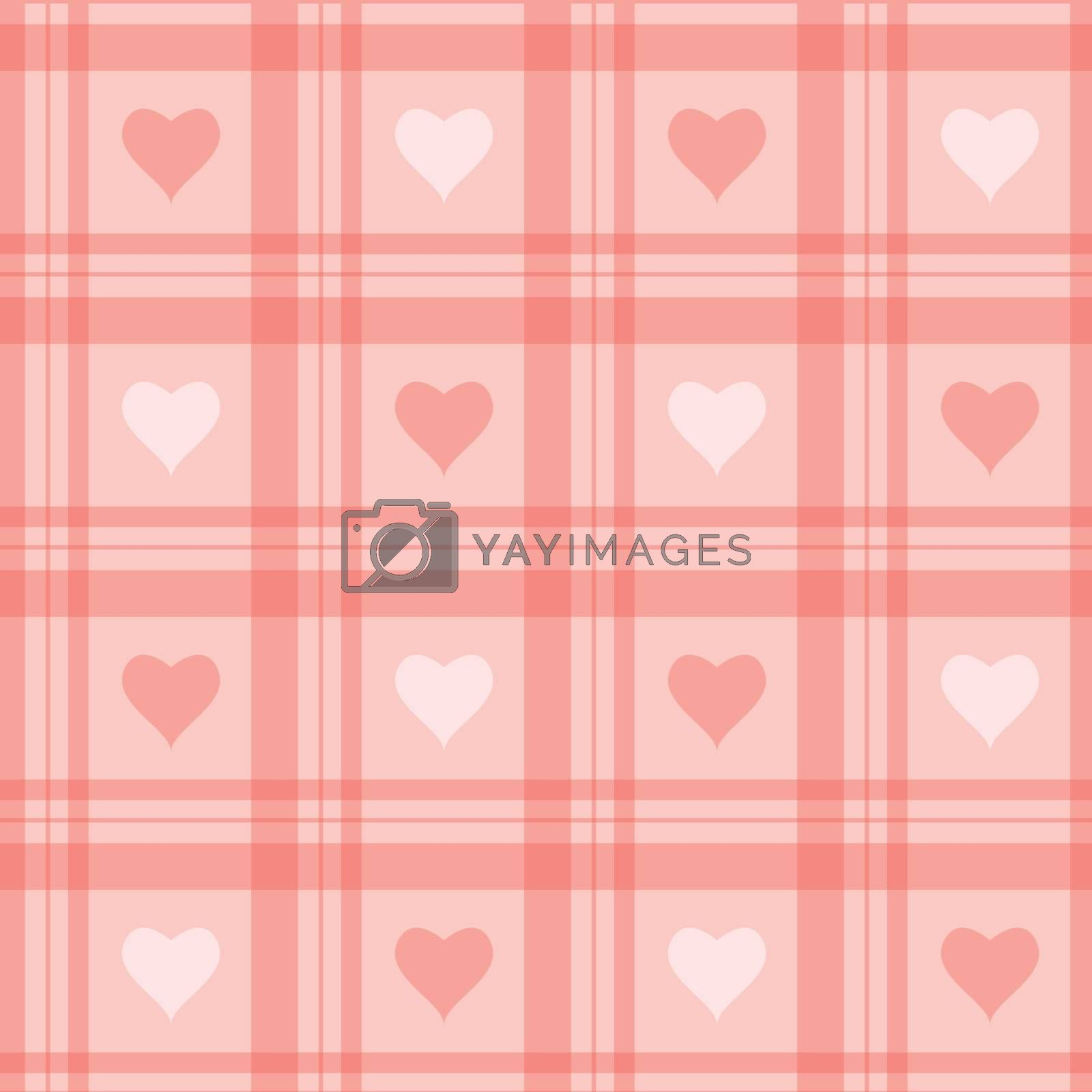 Vector seamless background. Pink checkered wallpaper with hearts.