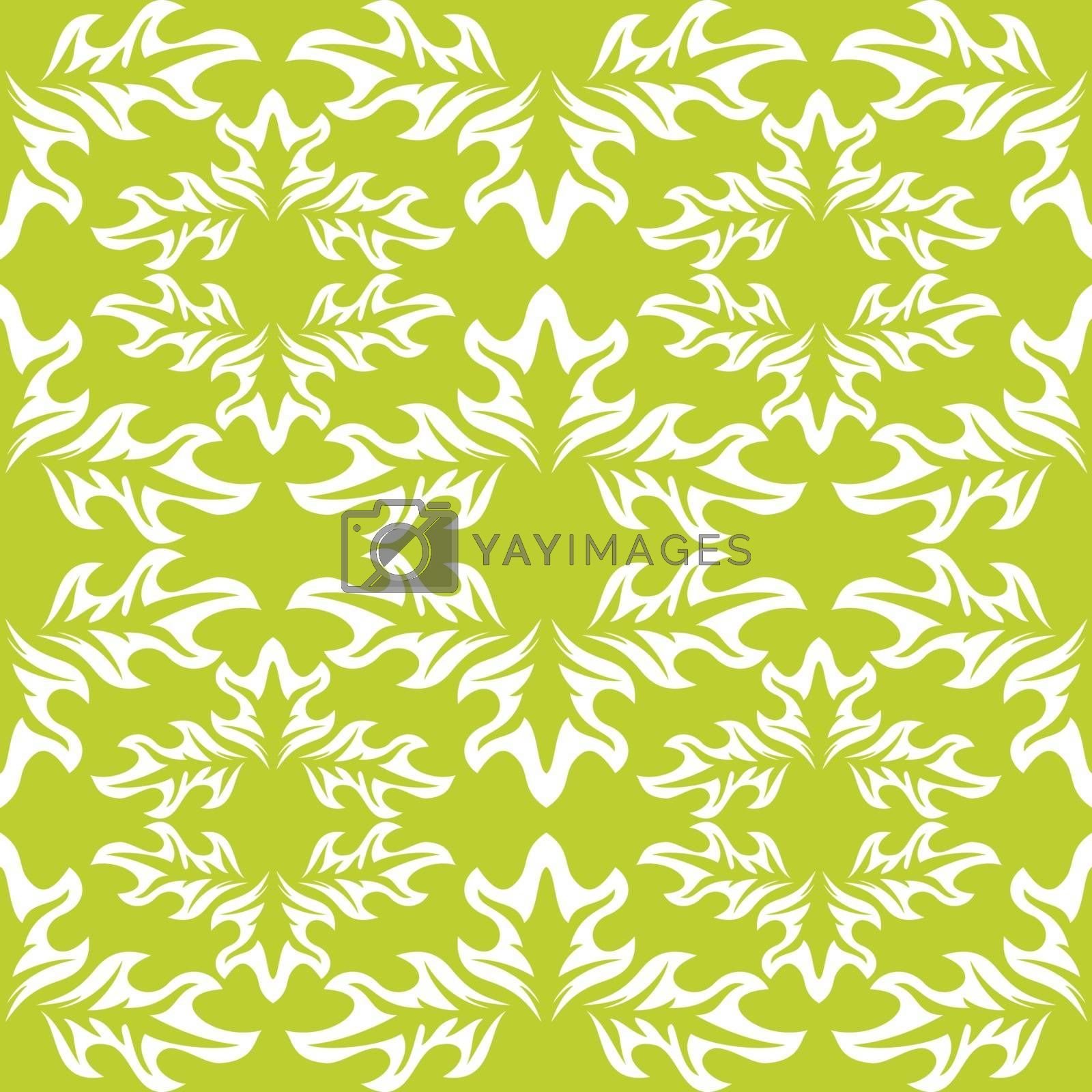 Vector seamless background. Green wallpaper with white leaf pattern